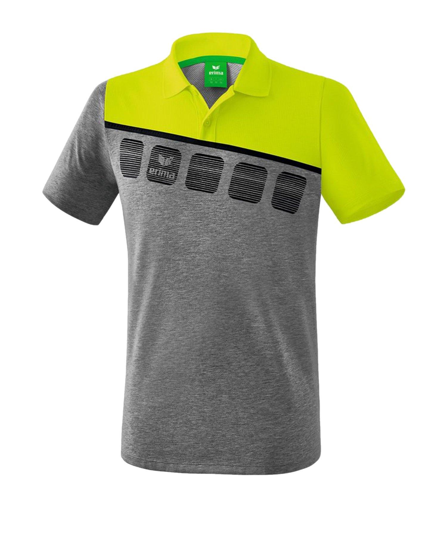Erima 5-C Poloshirt Grau Grün - Grau