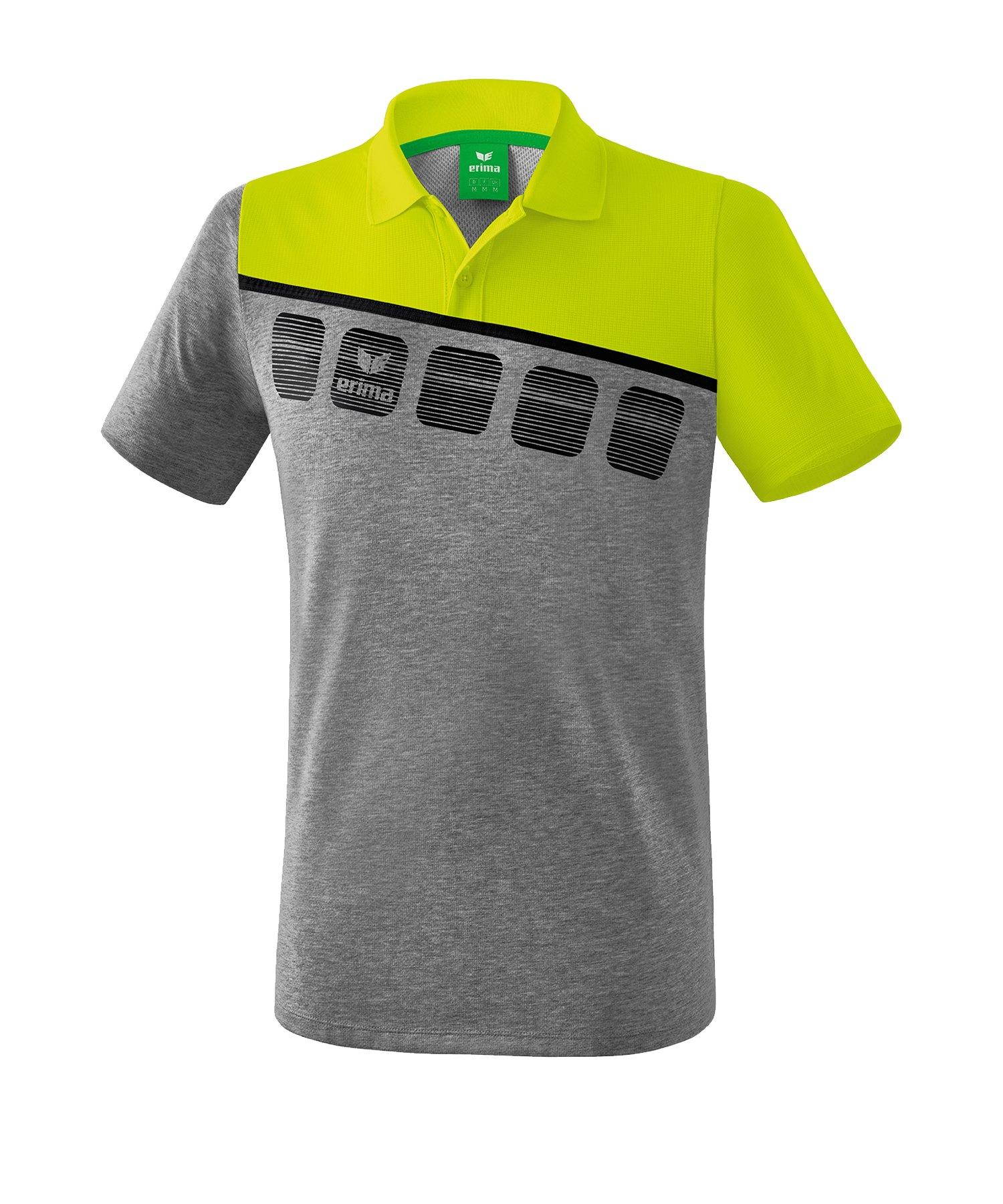 Erima 5-C Poloshirt Kids Grau Grün - Grau