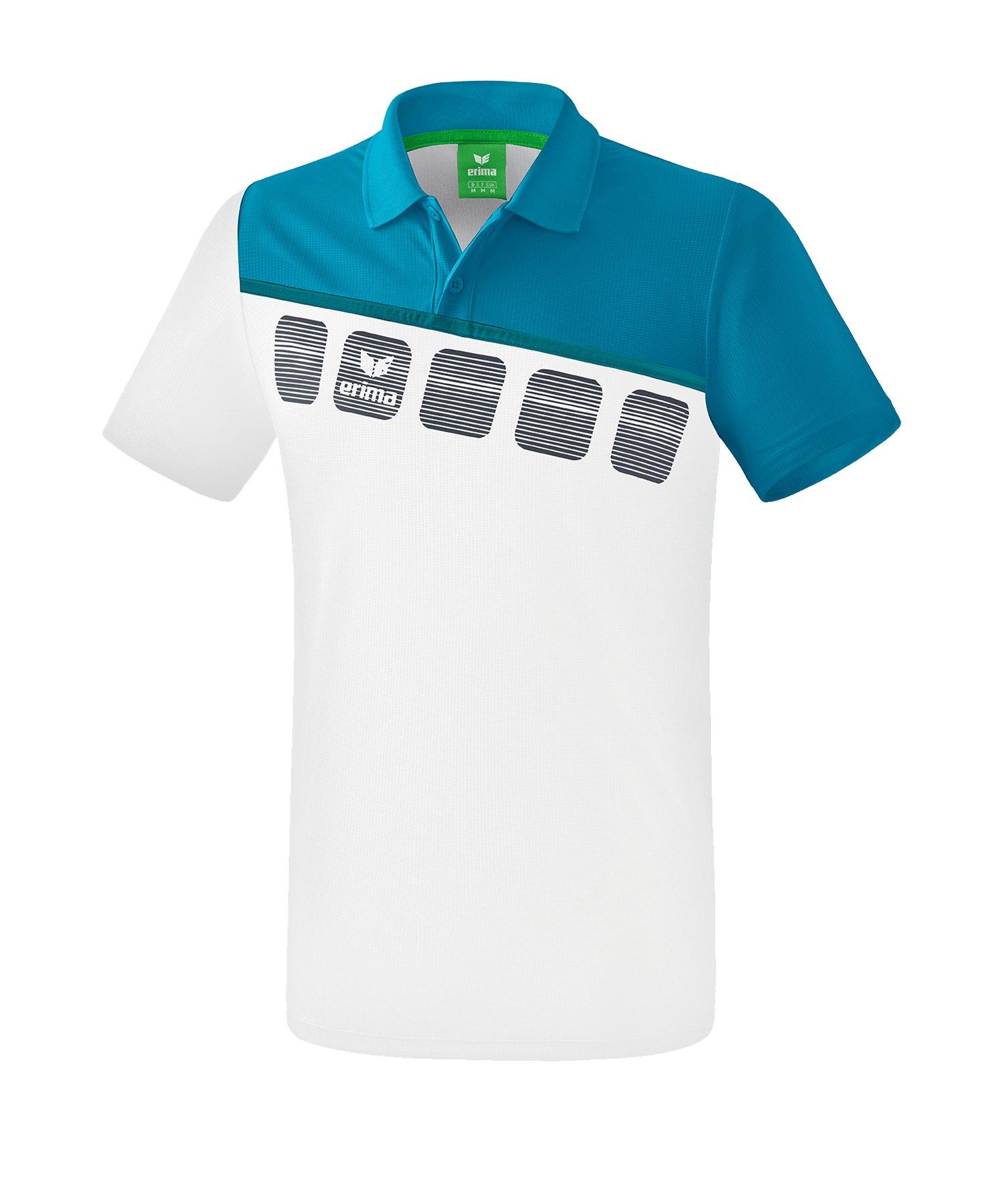 Erima 5-C Poloshirt Kids Weiss Blau - Weiss