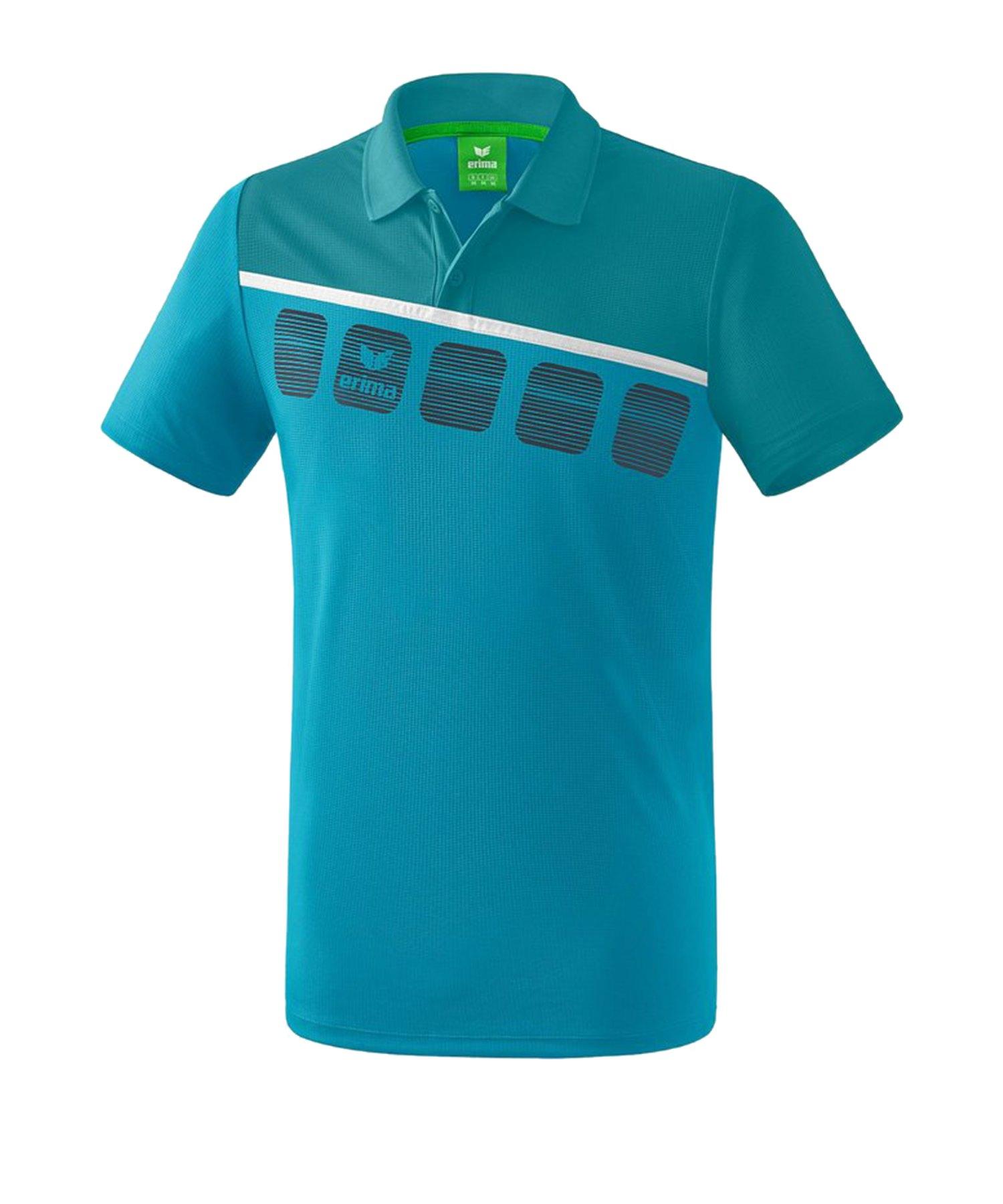 Erima 5-C Poloshirt Blau Weiss - Blau