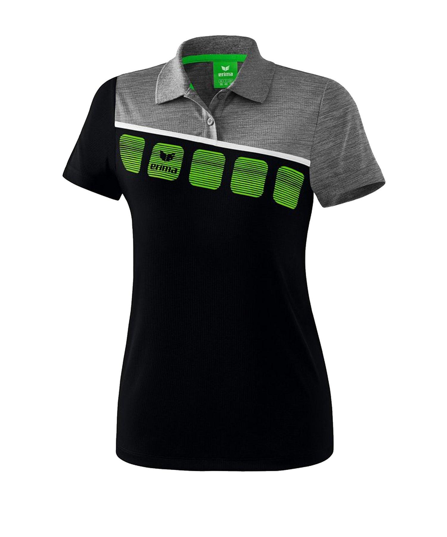 Erima 5-C Poloshirt Damen Schwarz Grau - Schwarz