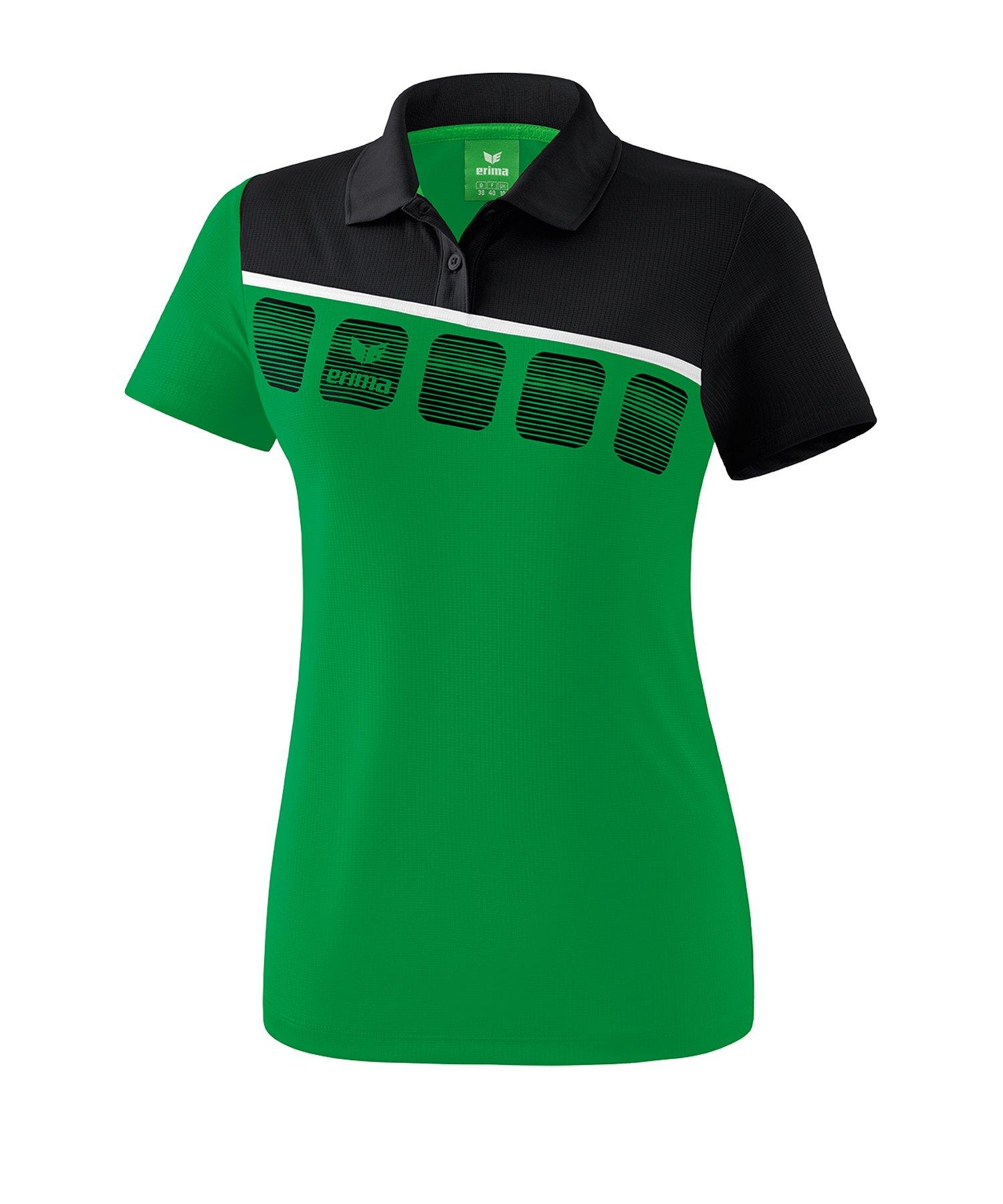 Erima 5-C Poloshirt Damen Grün Schwarz - Gruen