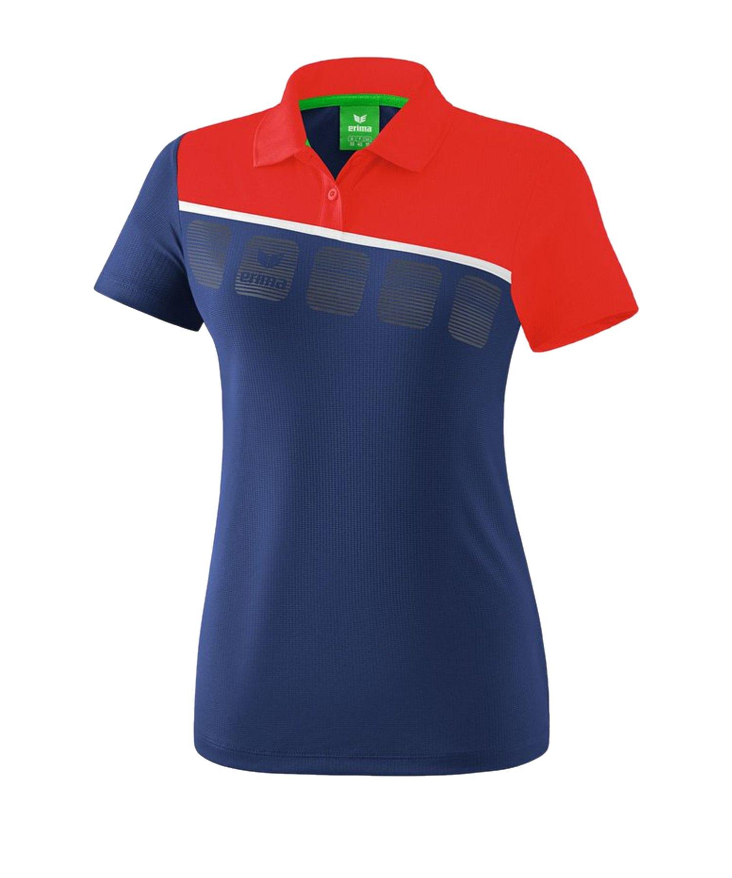 Erima 5-C Poloshirt Damen Blau Rot - Blau