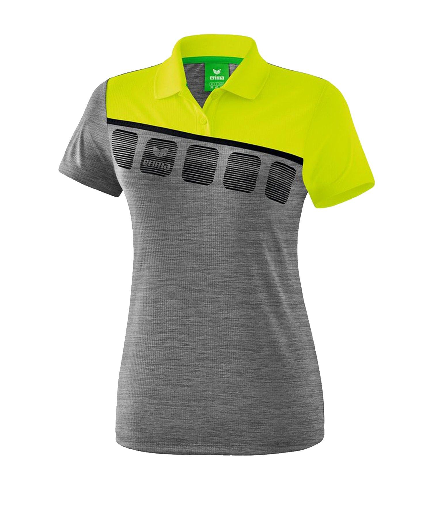 Erima 5-C Poloshirt Damen Grau Grün - Grau