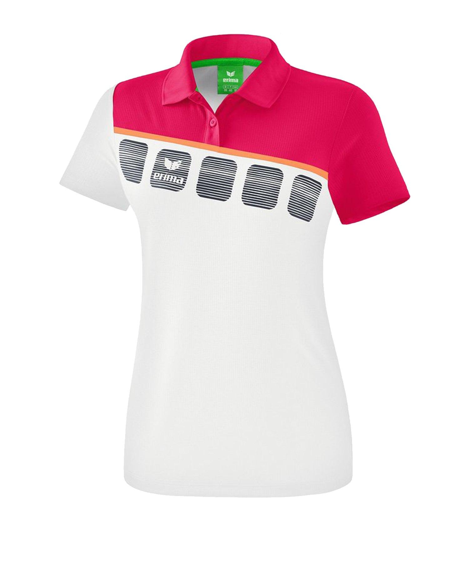 Erima 5-C Poloshirt Damen Weiss - Weiss
