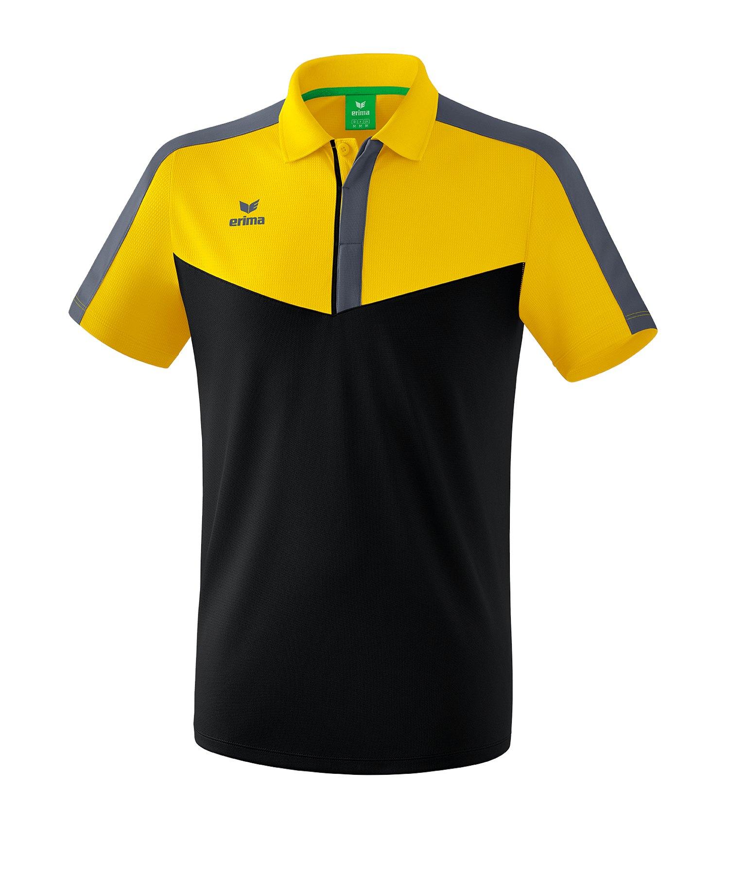 Erima Squad Poloshirt Gelb Schwarz - gelb
