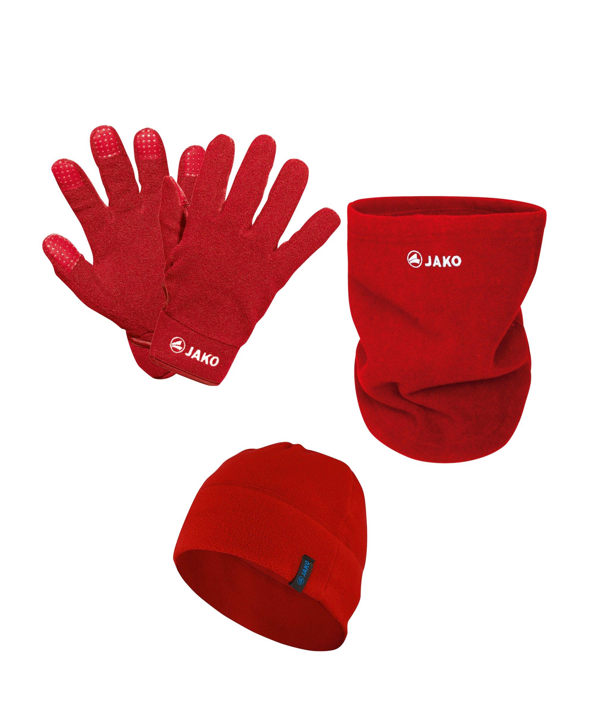 JAKO 3er Winter Set Handschuh + Beanie + Neckwarmer Rot - rot