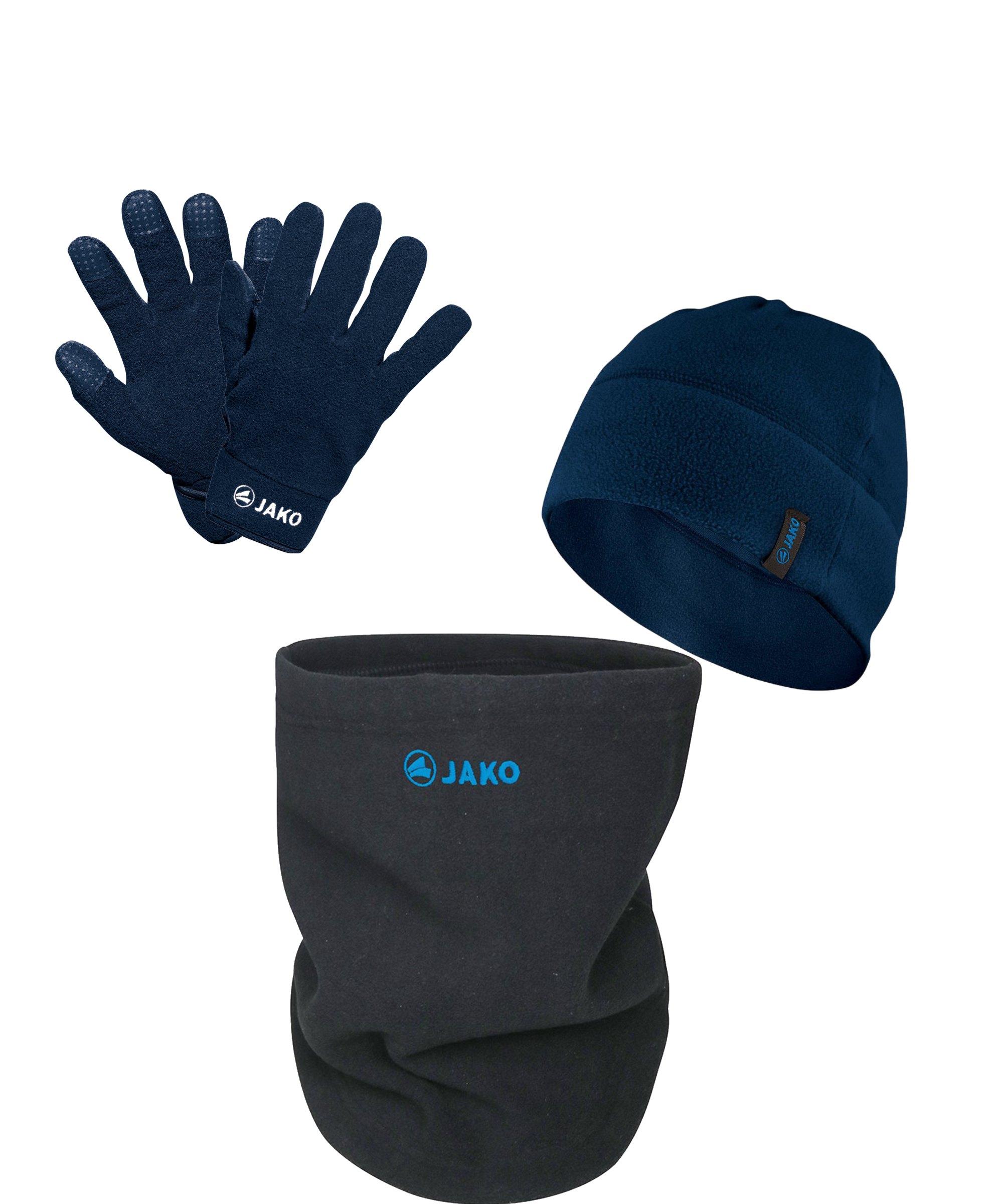 JAKO 3er Winter Set Handschuh + Beanie + Neckwarmer Blau Grau - blau