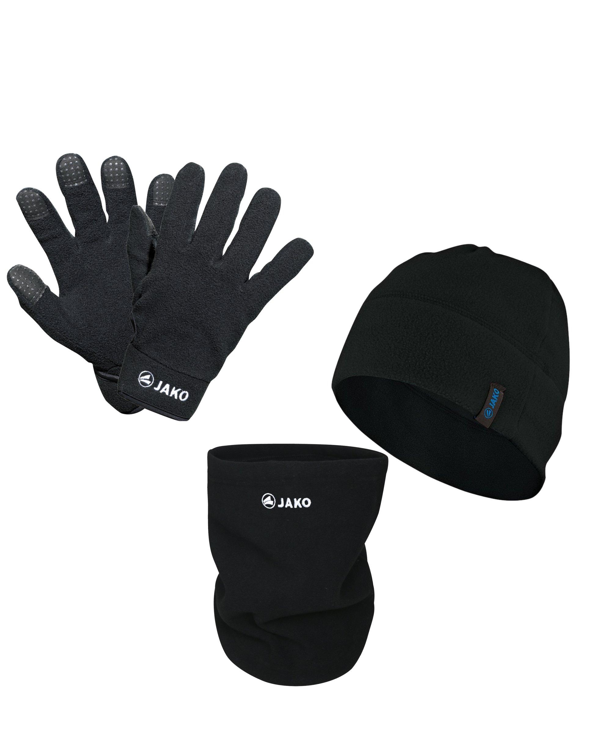 JAKO 3er Winter Set Handschuh + Beanie + Neckwarmer Schwarz - schwarz