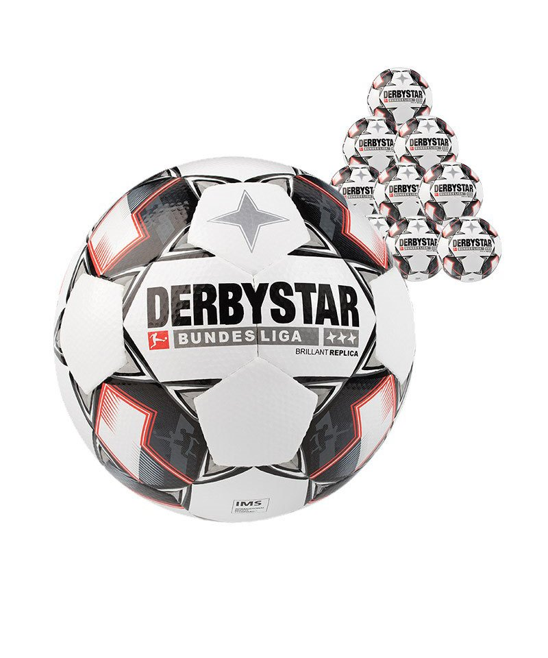 Derbystar Bundesliga Brillant APS Replica 10xFussball Weiss F123 - weiss