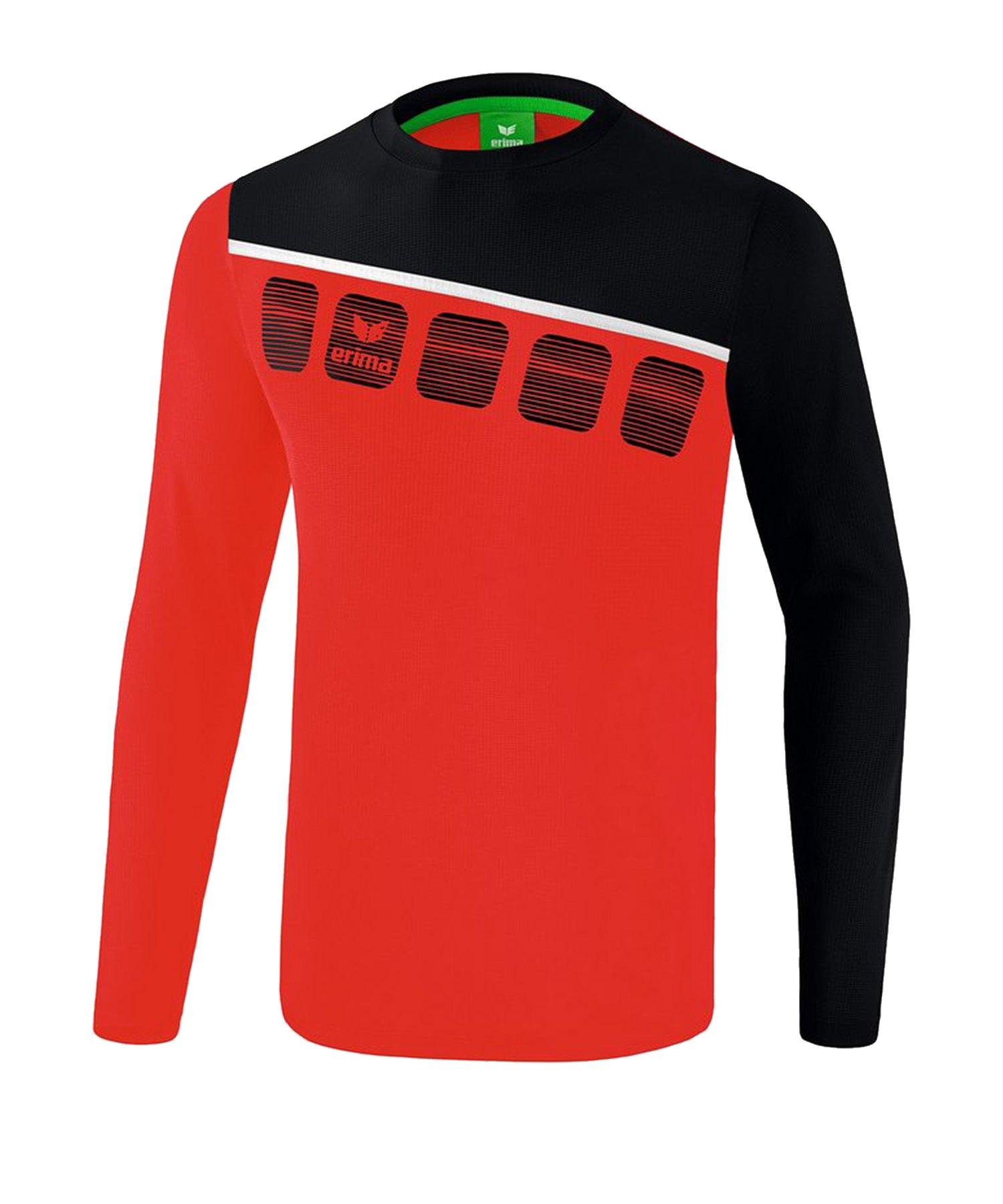 Erima 5-C Longsleeve Rot Schwarz - Rot