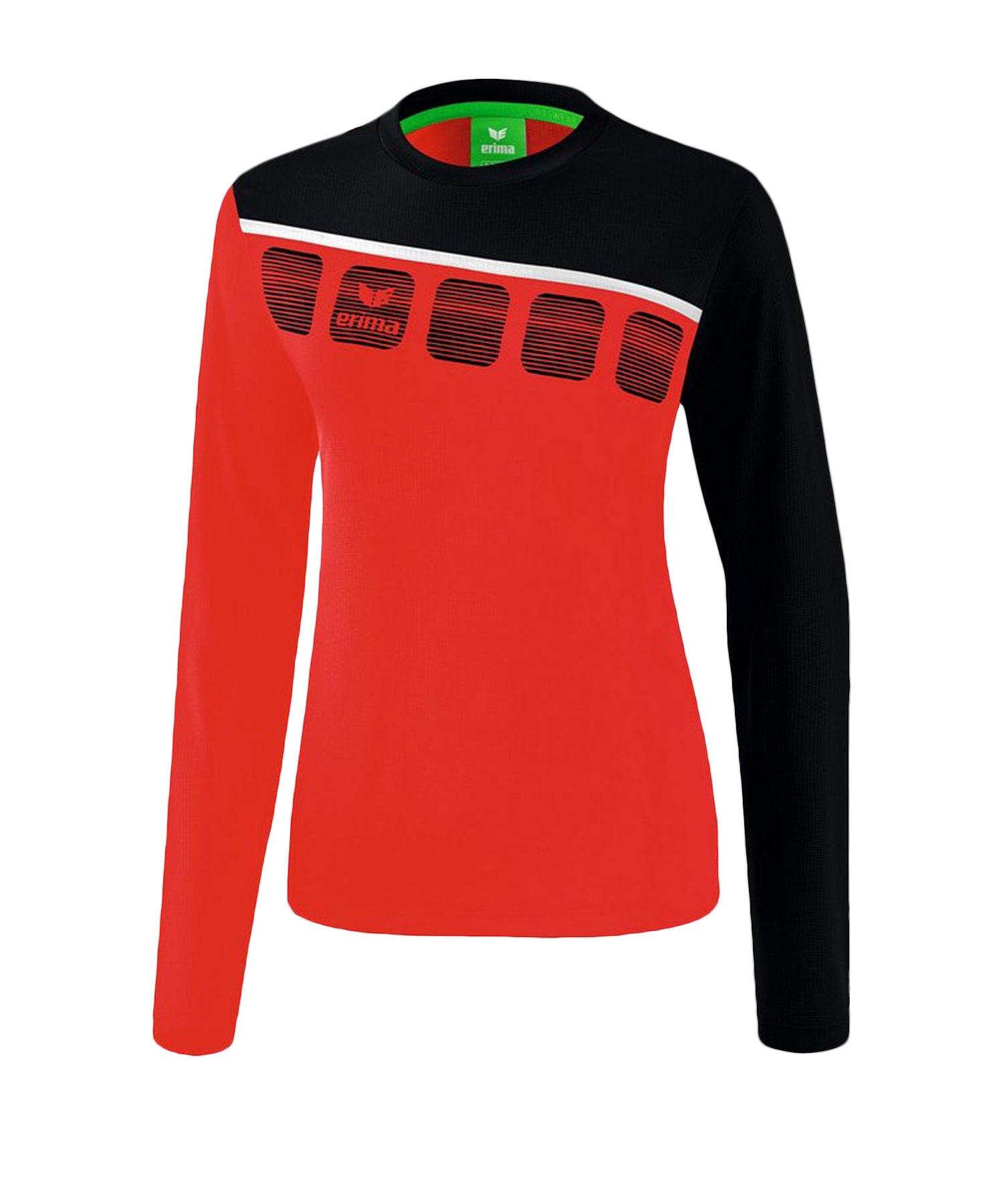 Erima 5-C Longsleeve Damen Rot Schwarz - Rot