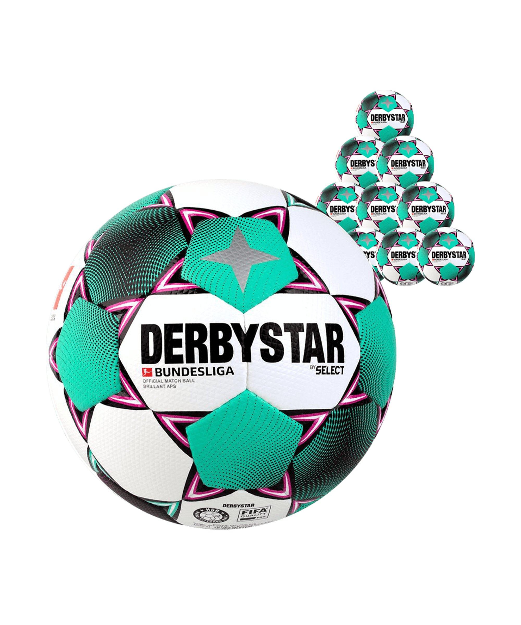 Derbystar Bundesliga Brillant APS x10 Spielball Weiss F020 - weiss