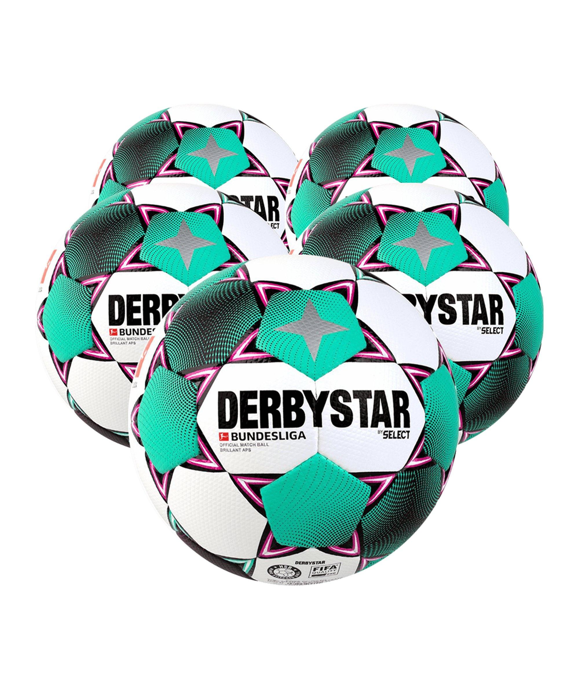 Derbystar Bundesliga Brillant APS x5 Spielball Weiss F020 - weiss