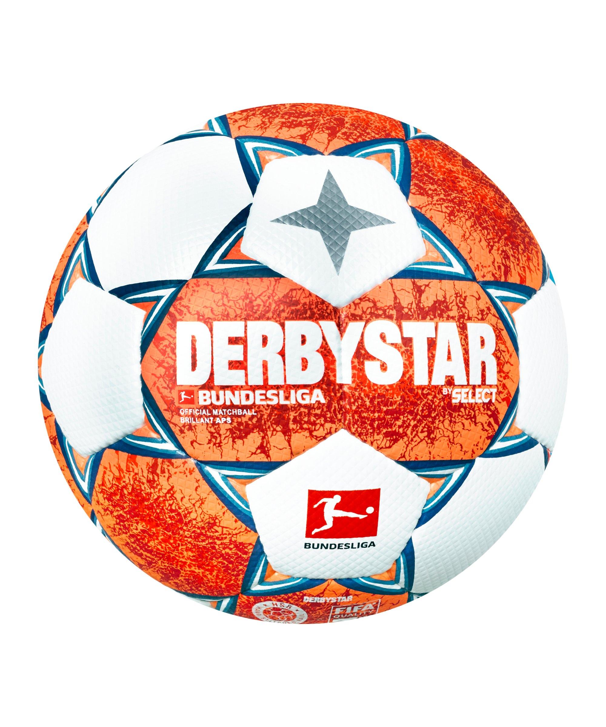 Derbystar Bundesliga Brillant APS v21 Spielball 2021/2022 Orange Blau Weiss F021 - orange