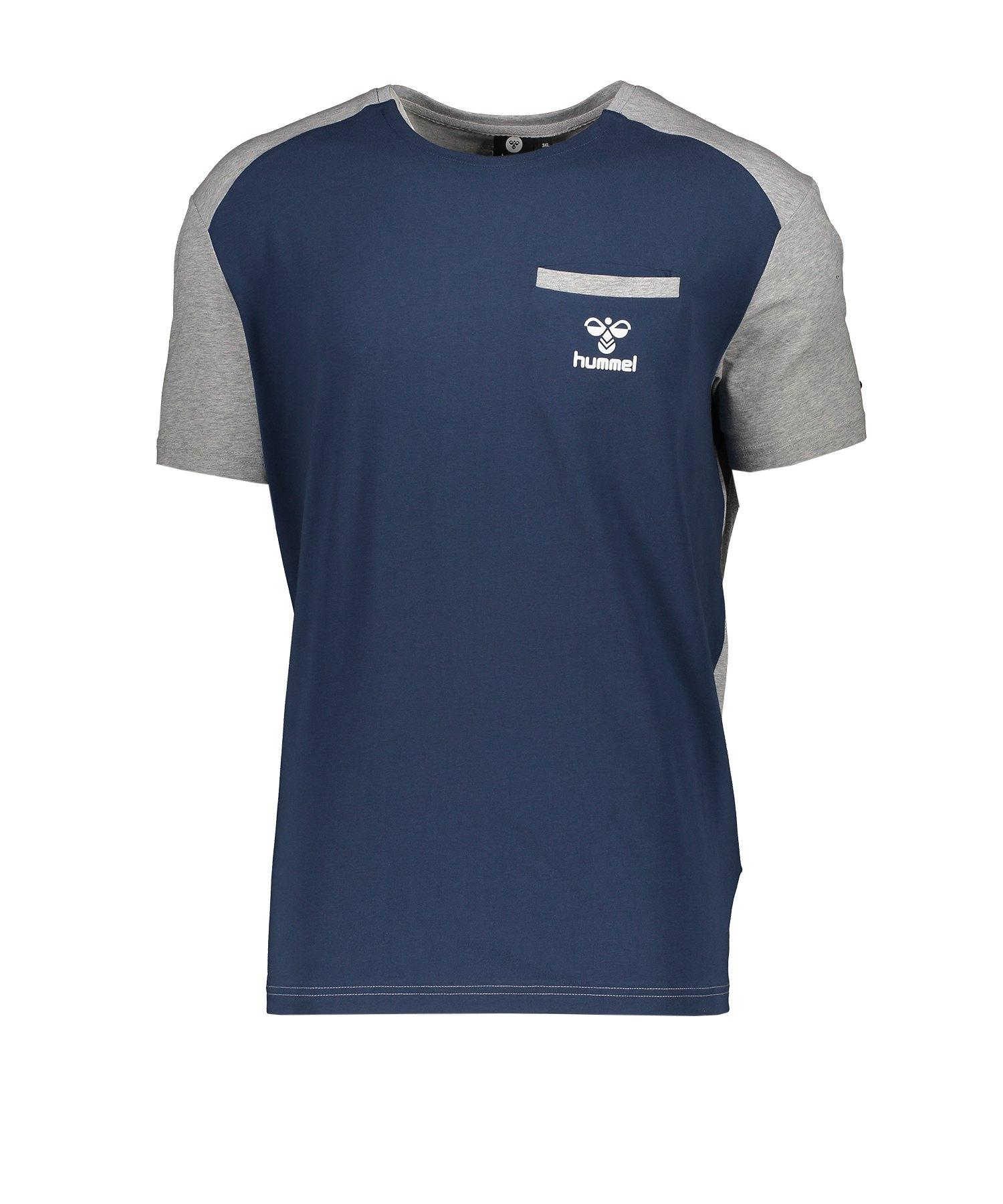 Hummel Flint T-Shirt kurzarm Blau Grau F8744 - blau
