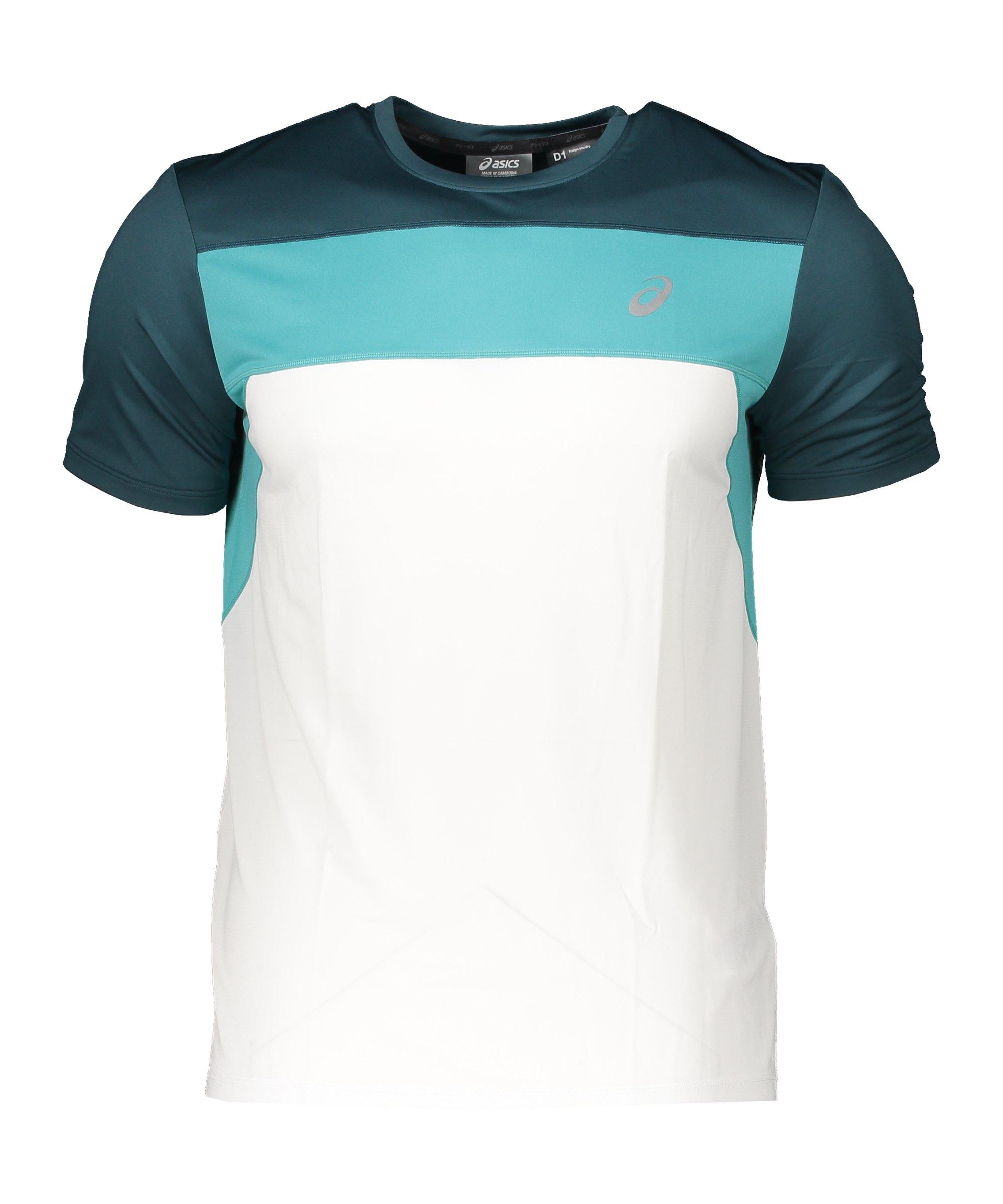 Asics Race SS Running T-Shirt Weiss Blau F403 - weiss