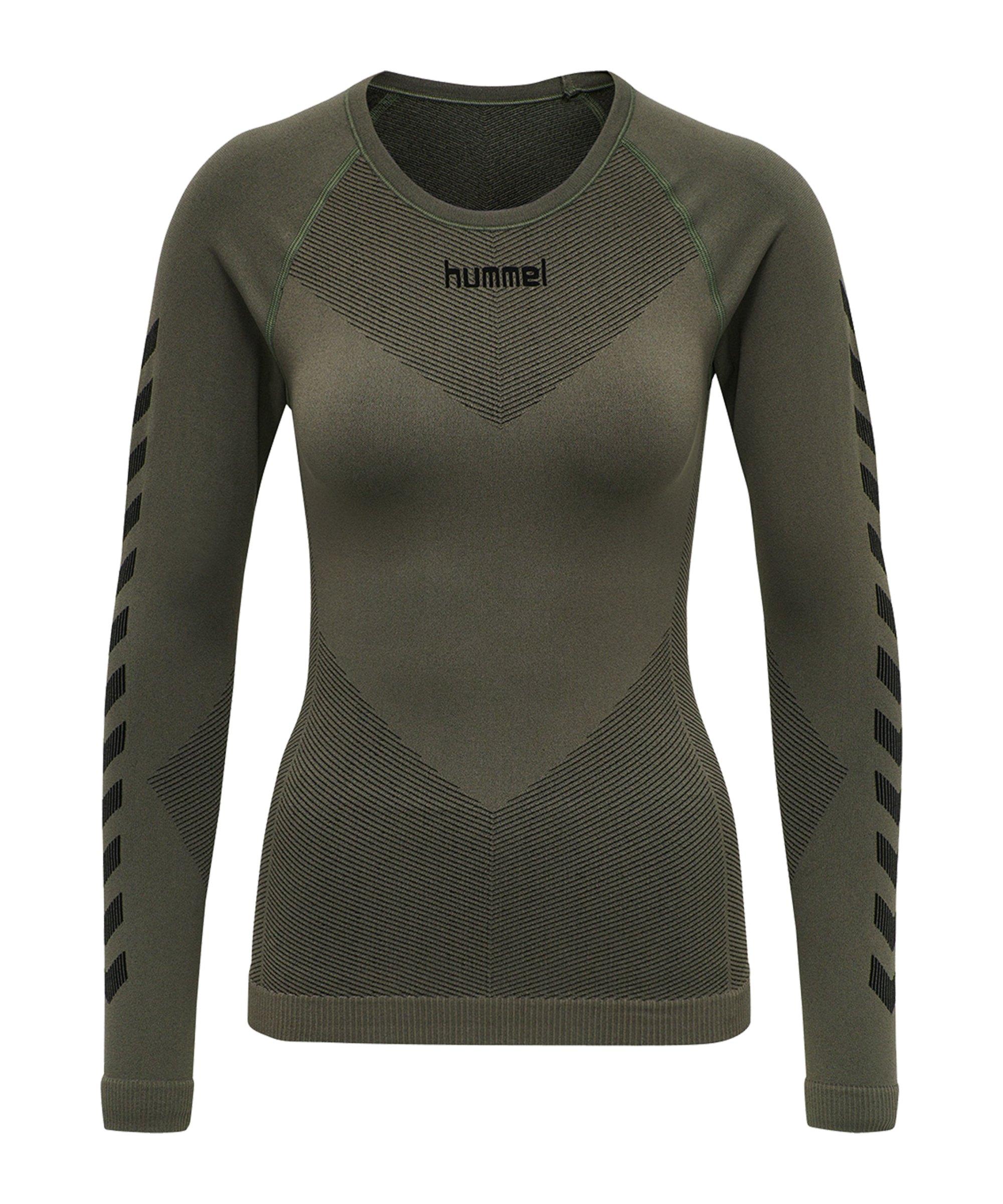 Hummel First Seamless Longsleeve Damen Khaki F6084 - khaki