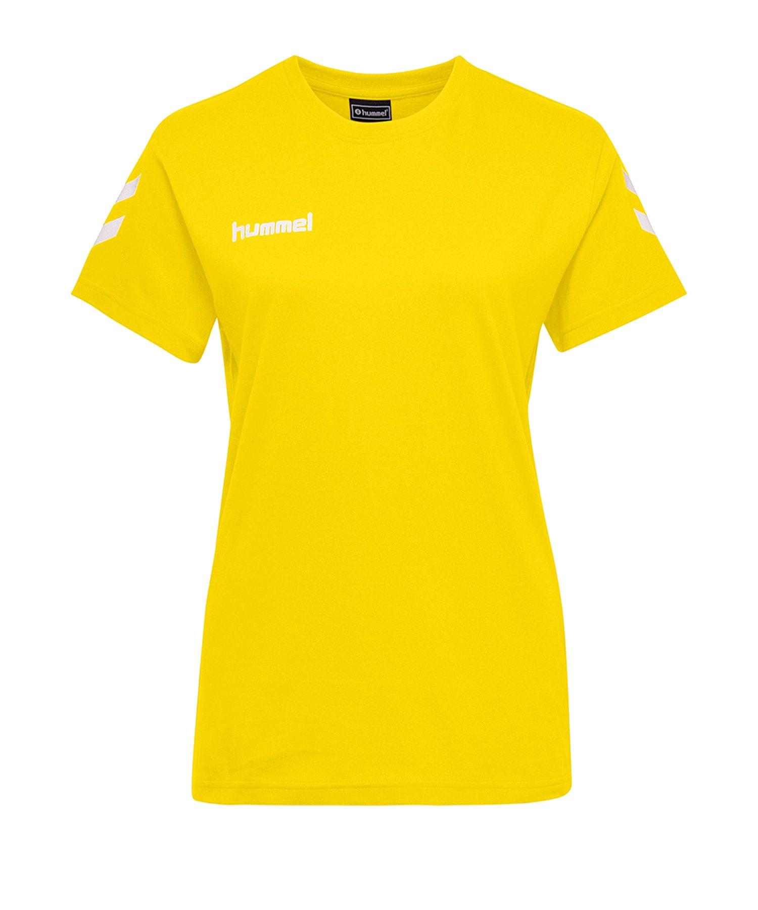 Hummel Cotton T-Shirt Damen Gelb F5001 - Gelb