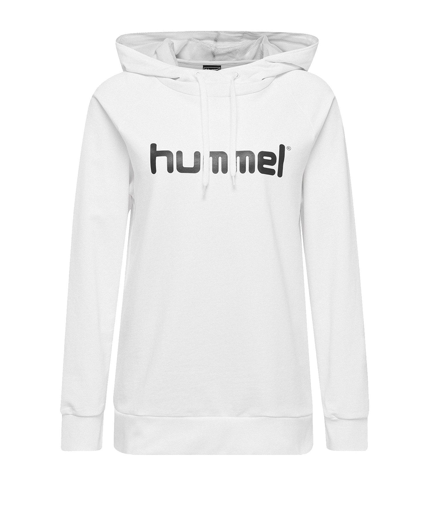 Hummel Cotton Logo Hoody Damen Weiss F9001 - Weiss