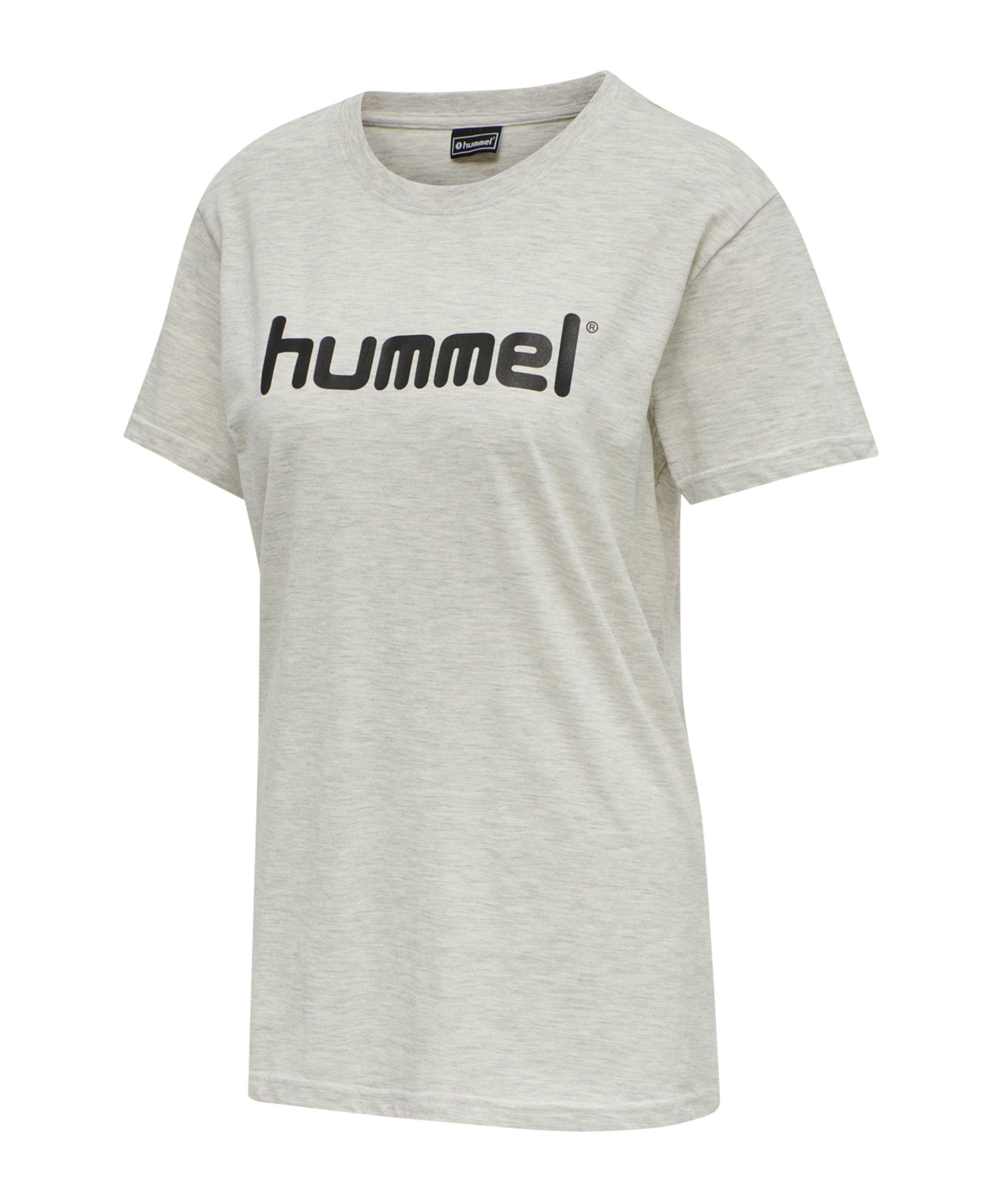 Hummel Cotton T-Shirt Logo Damen Beige F9158 - beige