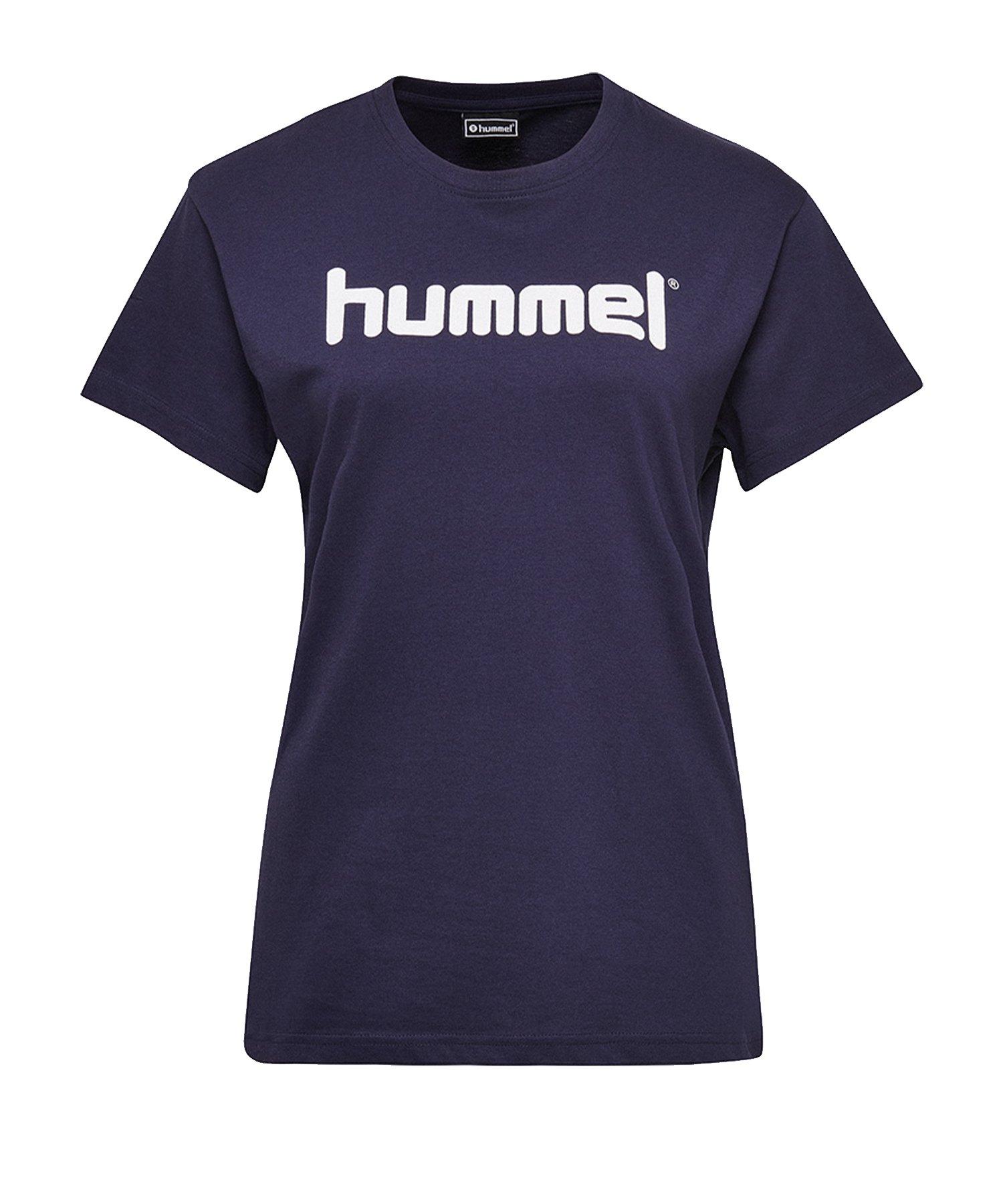 Hummel Cotton T-Shirt Logo Damen Blau F7026 - Blau