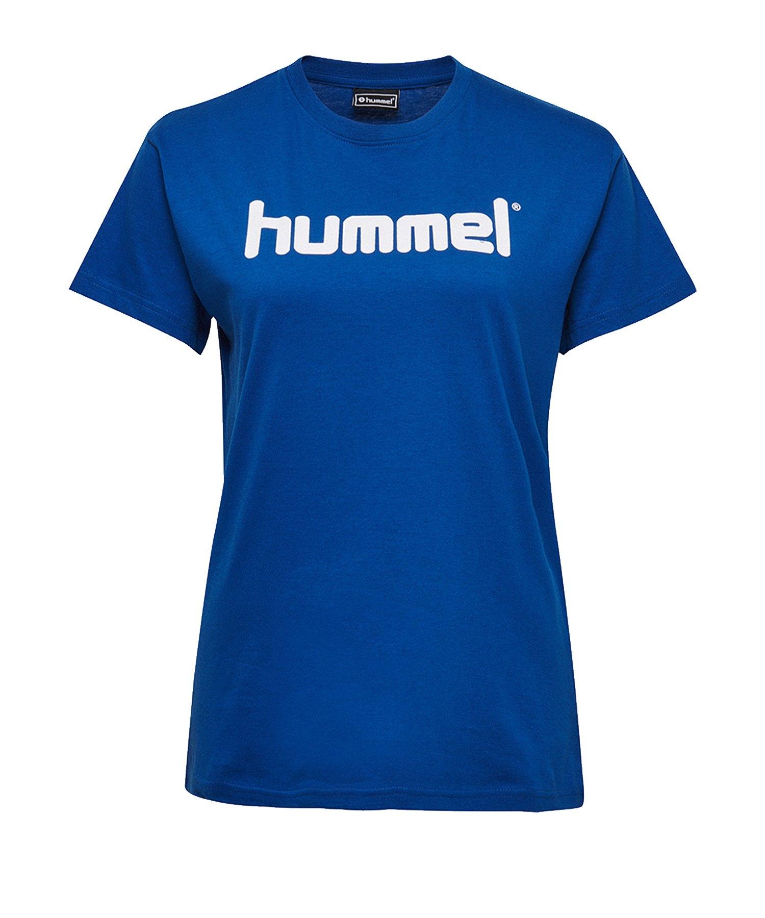 Hummel Cotton T-Shirt Logo Damen Blau F7045 - Blau