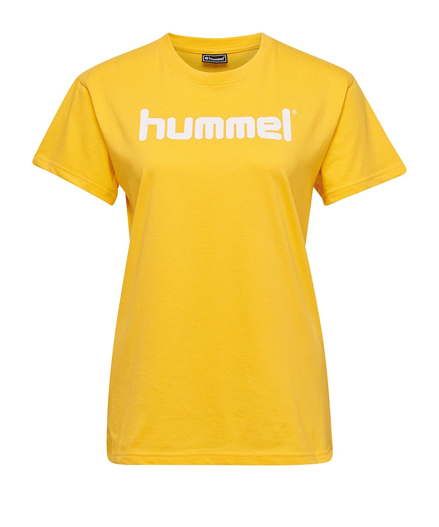 Hummel Cotton T-Shirt Logo Damen Gelb F5001 - Gelb