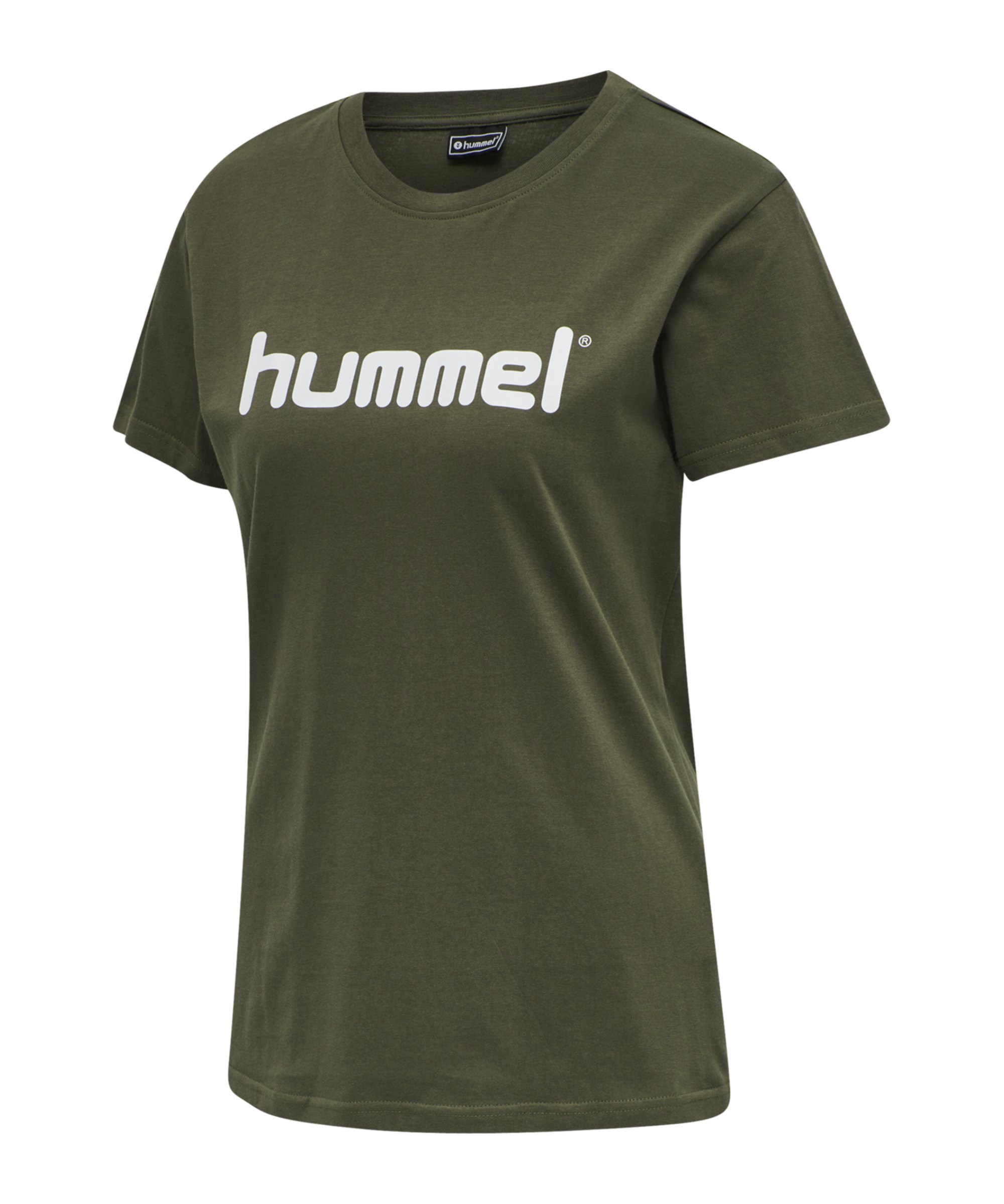 Hummel Cotton T-Shirt Logo Damen Grün F6084 - gruen