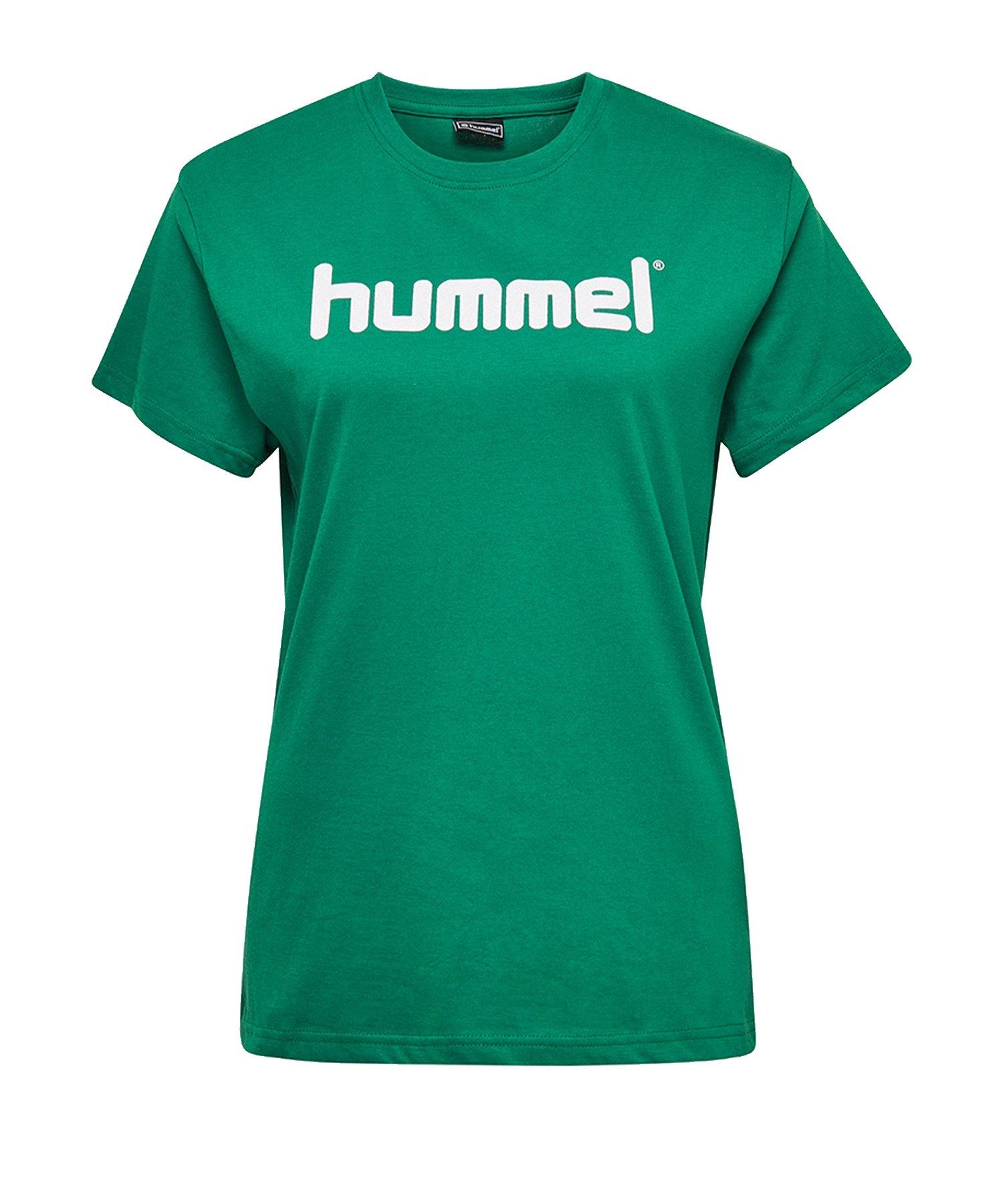 Hummel Cotton T-Shirt Logo Damen Grün F6140 - Gruen