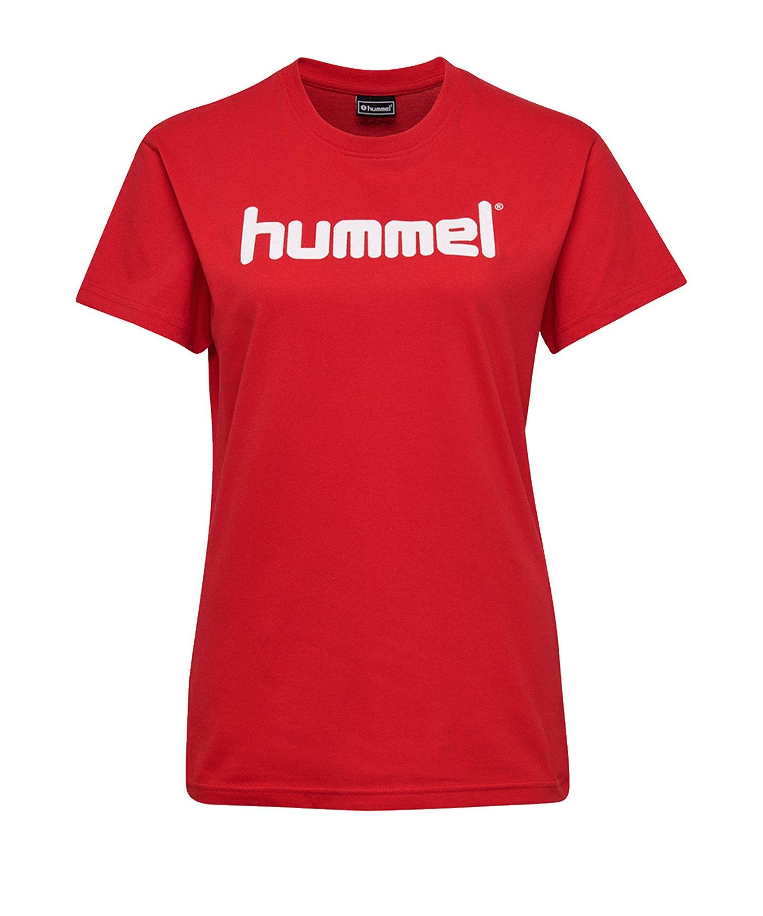Hummel Cotton T-Shirt Logo Damen Rot F3062 - Rot