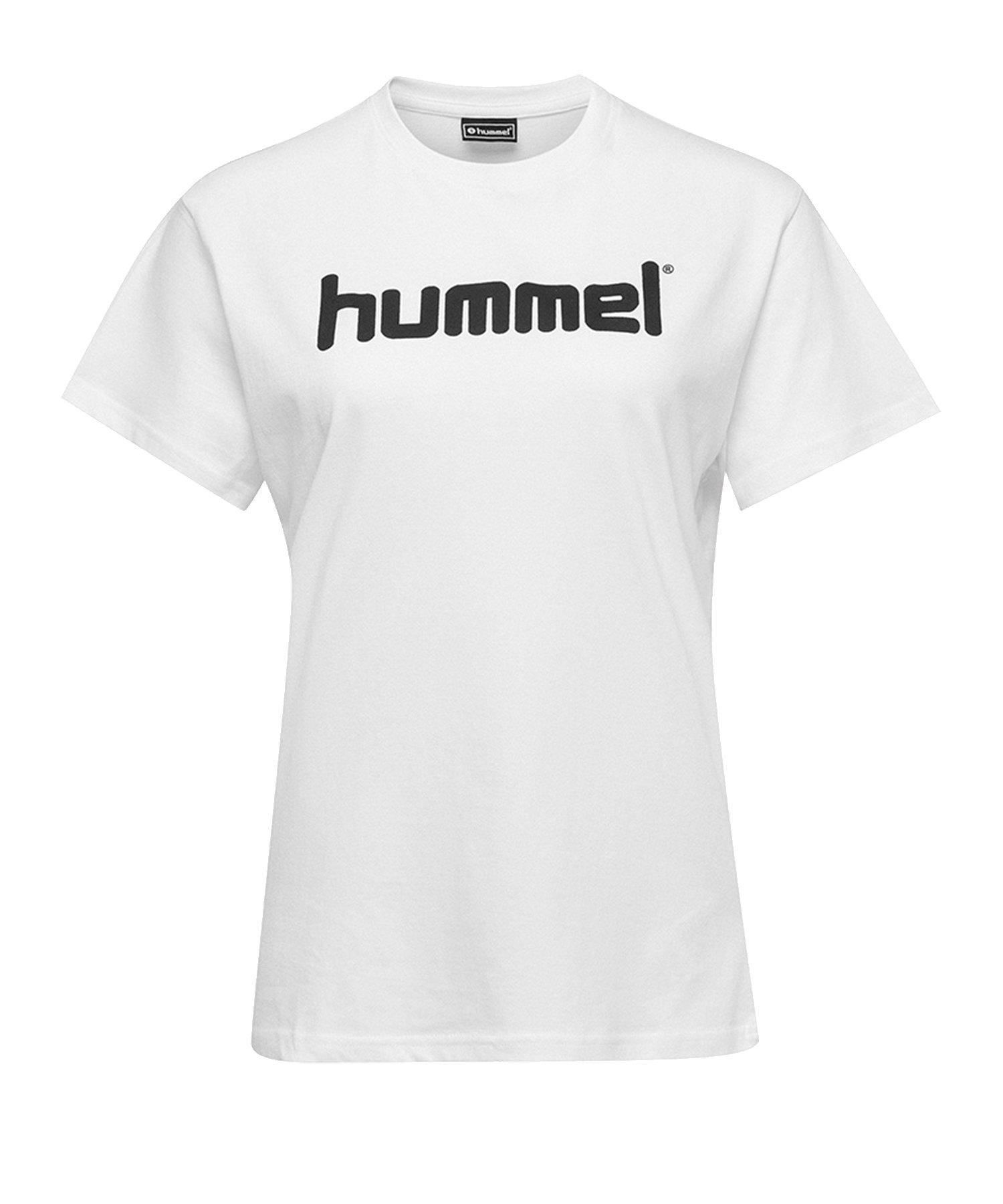 Hummel Cotton T-Shirt Logo Damen Weiss F9001 - Weiss