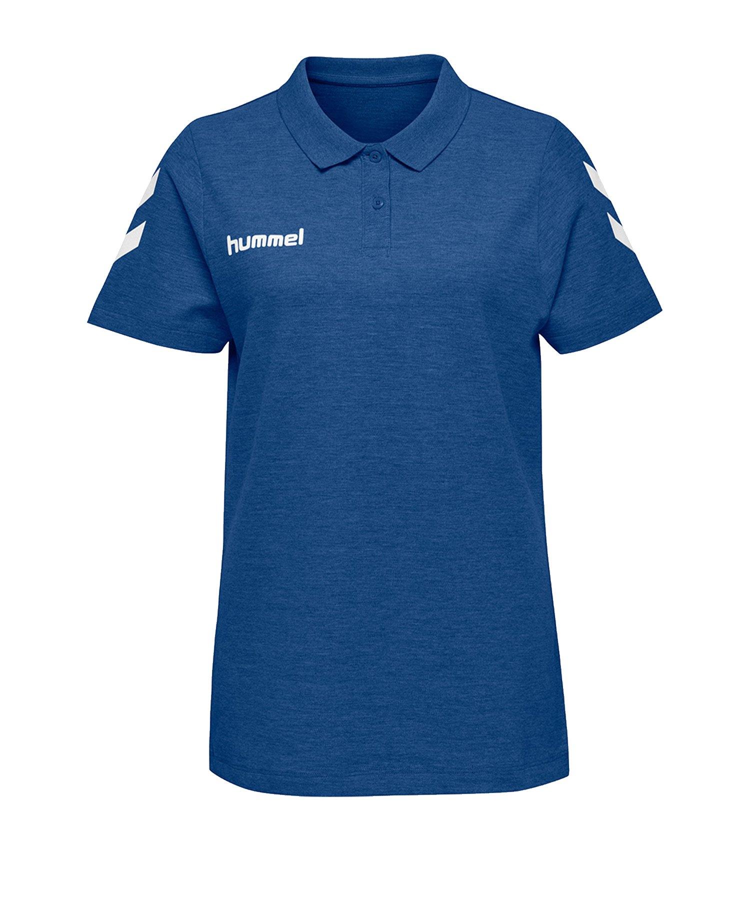 Hummel Cotton Poloshirt Damen Blau F7045 - Blau