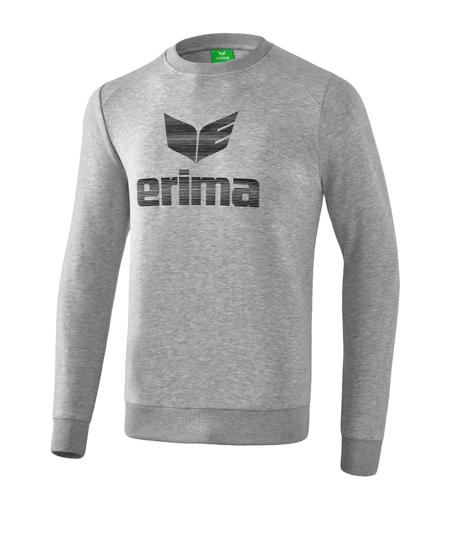 Erima Essential Sweatshirt Grau Schwarz - Grau