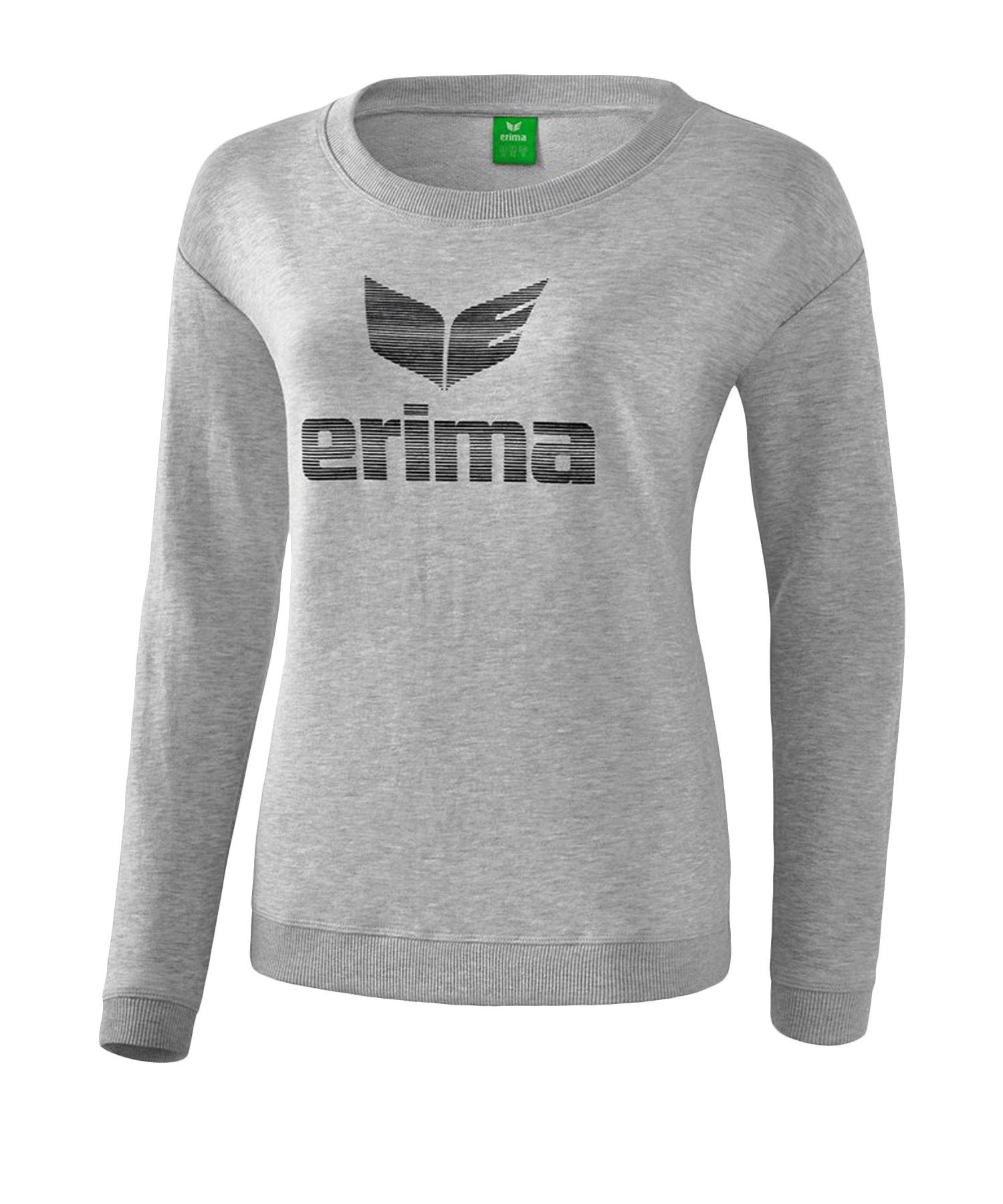 Erima Essential Sweatshirt Damen Grau Schwarz - Grau