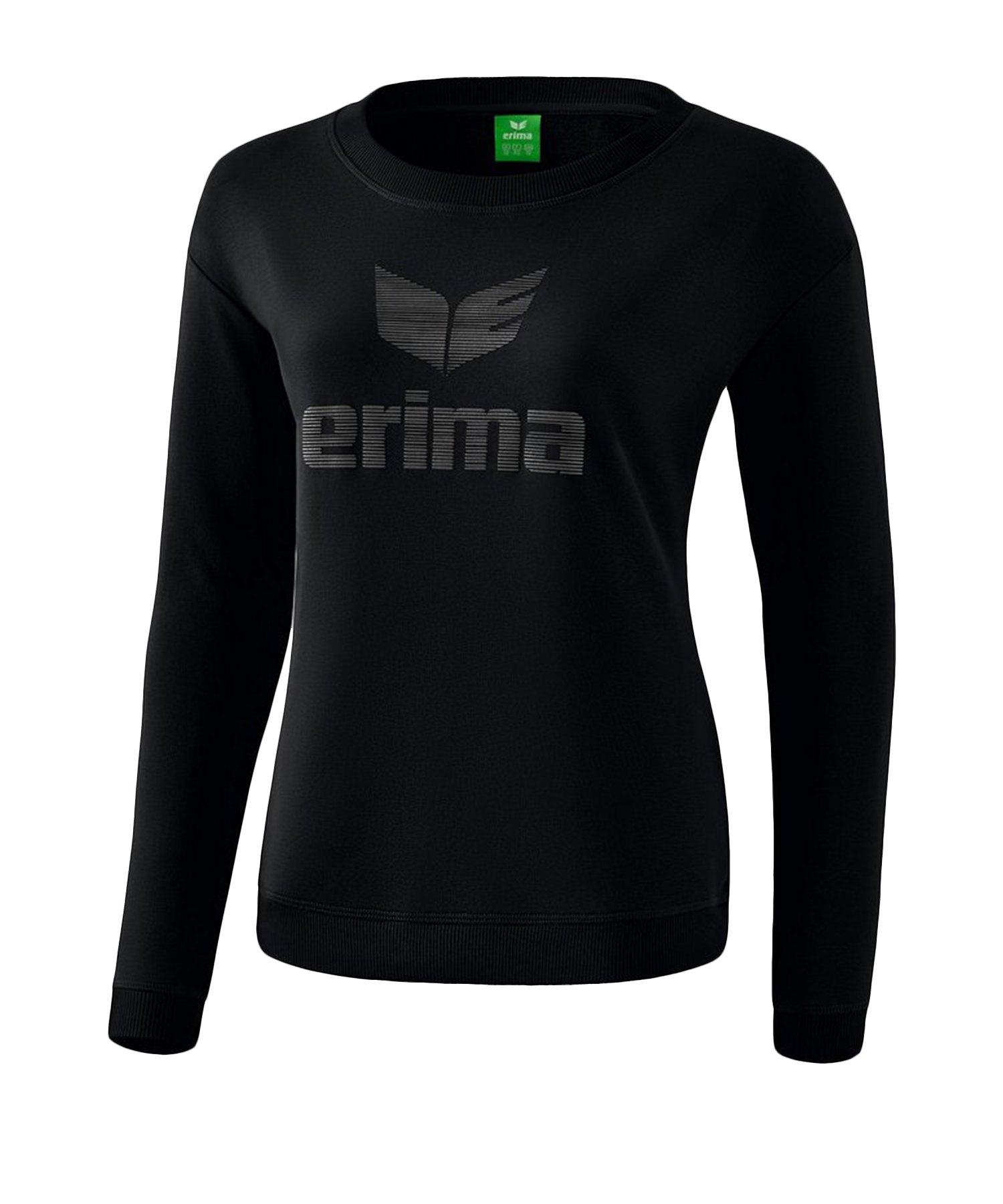 Erima Essential Sweatshirt Damen Schwarz Grau - Schwarz