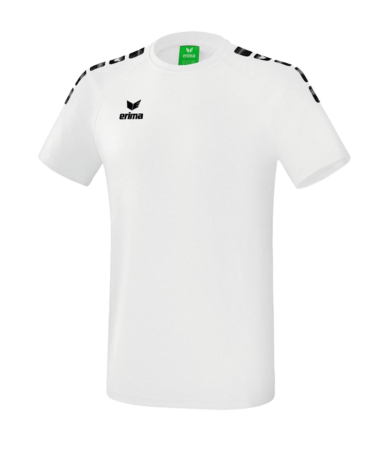 Erima Essential 5-C T-Shirt Kids Weiss Schwarz - Weiss