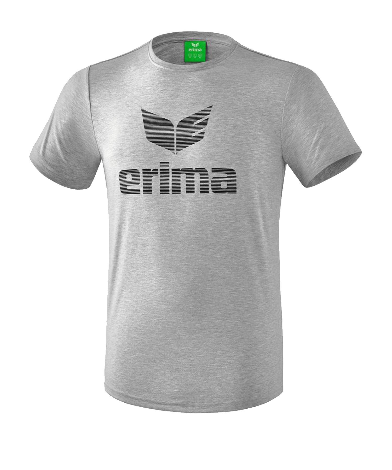 Erima Essential T-Shirt Grau Schwarz - Grau