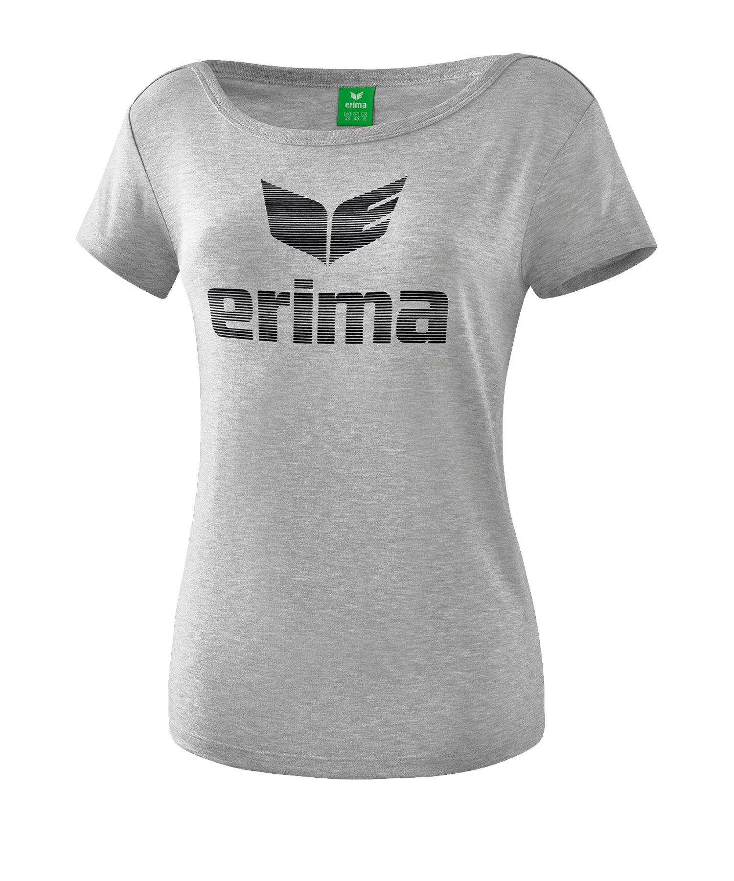 Erima Essential T-Shirt Damen Grau Schwarz - Grau