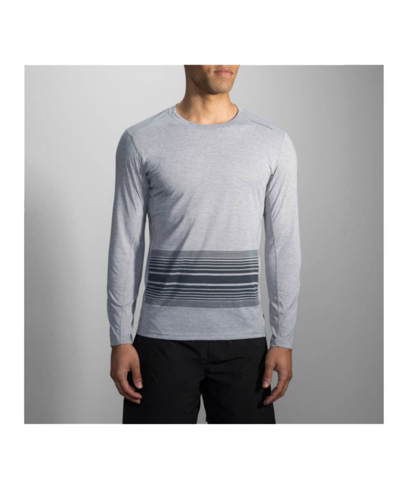 Brooks Distance Long Sleeve Running Grau F095 - grau