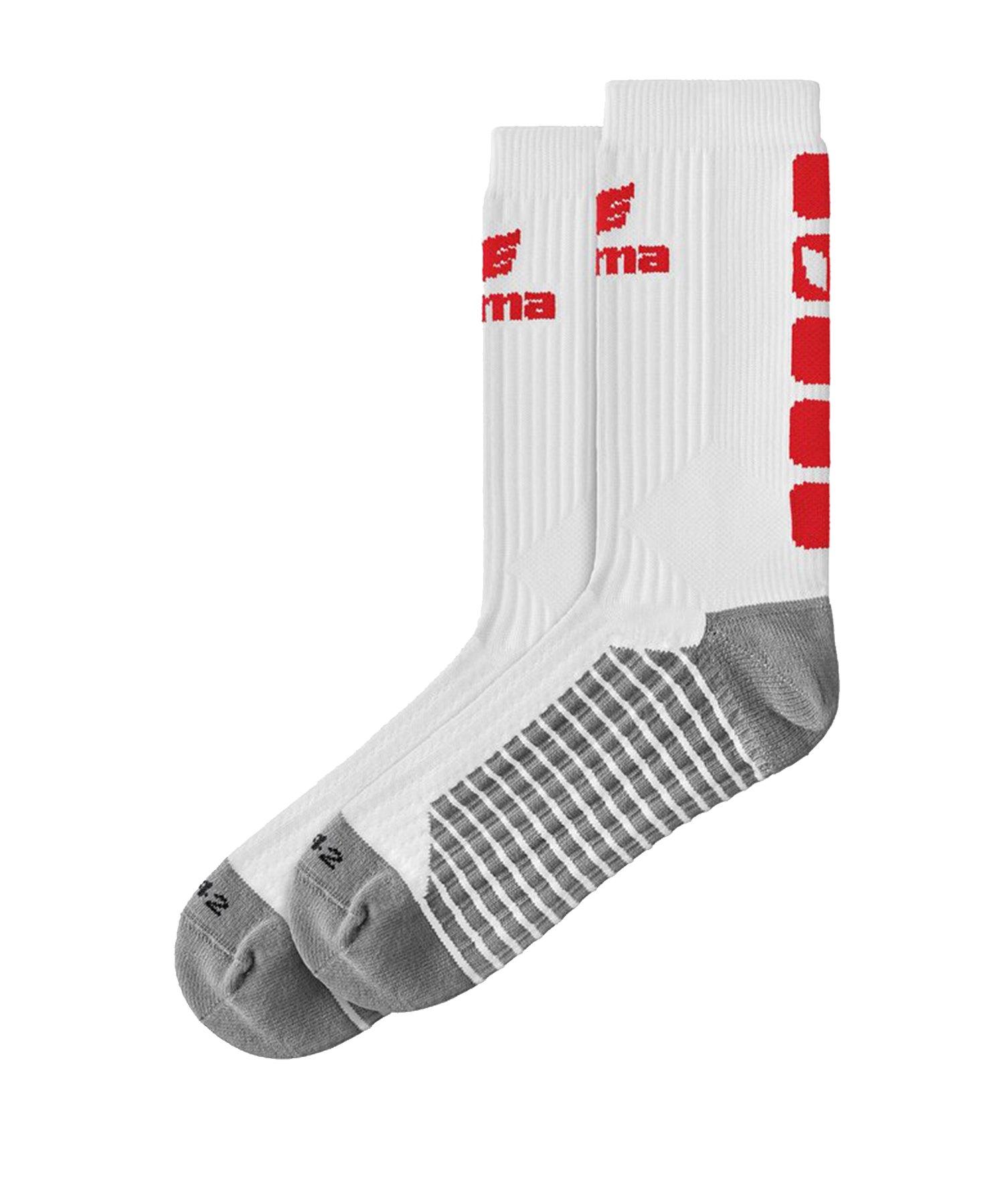 Erima CLASSIC 5-C Socken Weiss Rot - Weiss