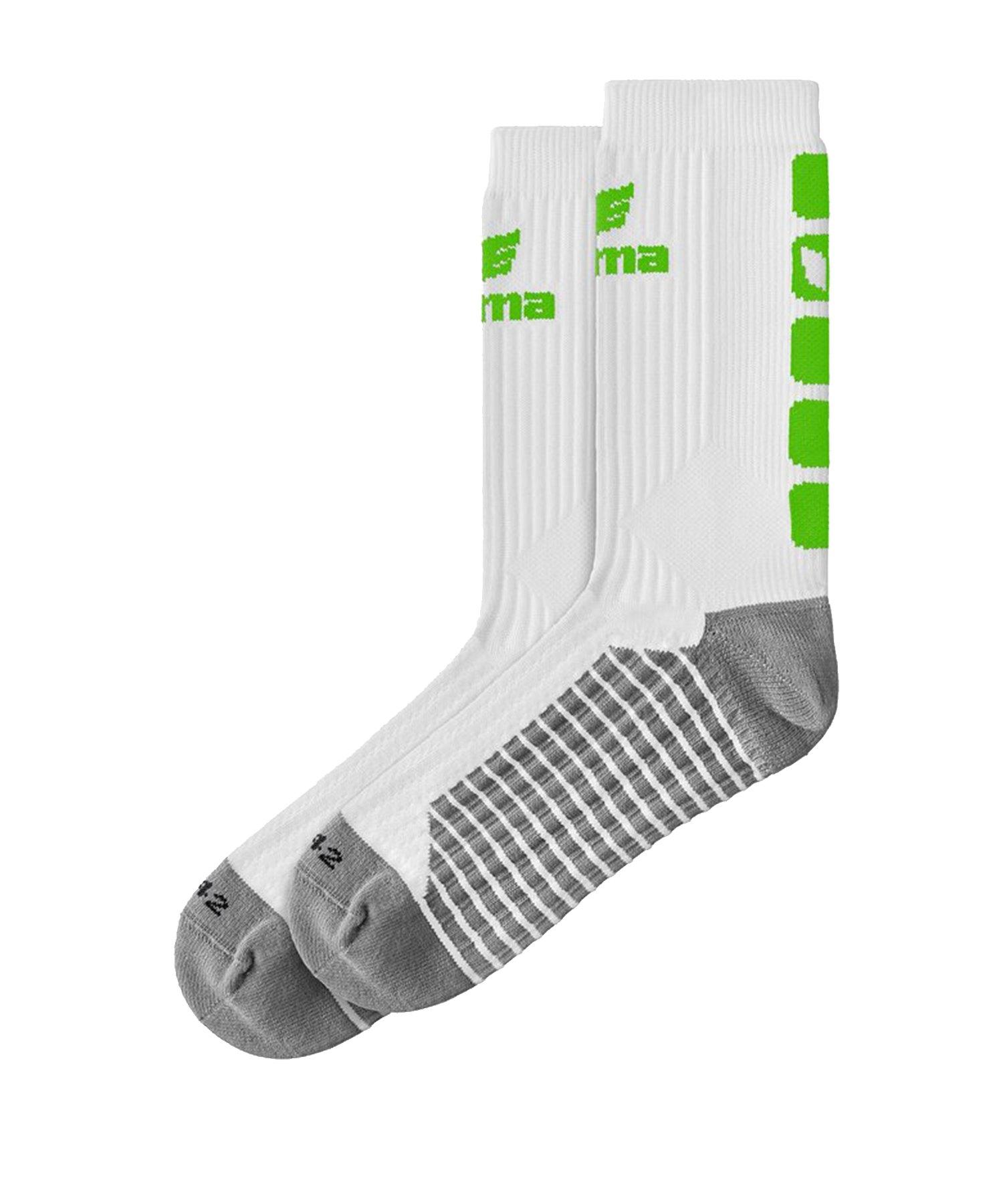 Erima CLASSIC 5-C Socken Weiss Grün - Weiss