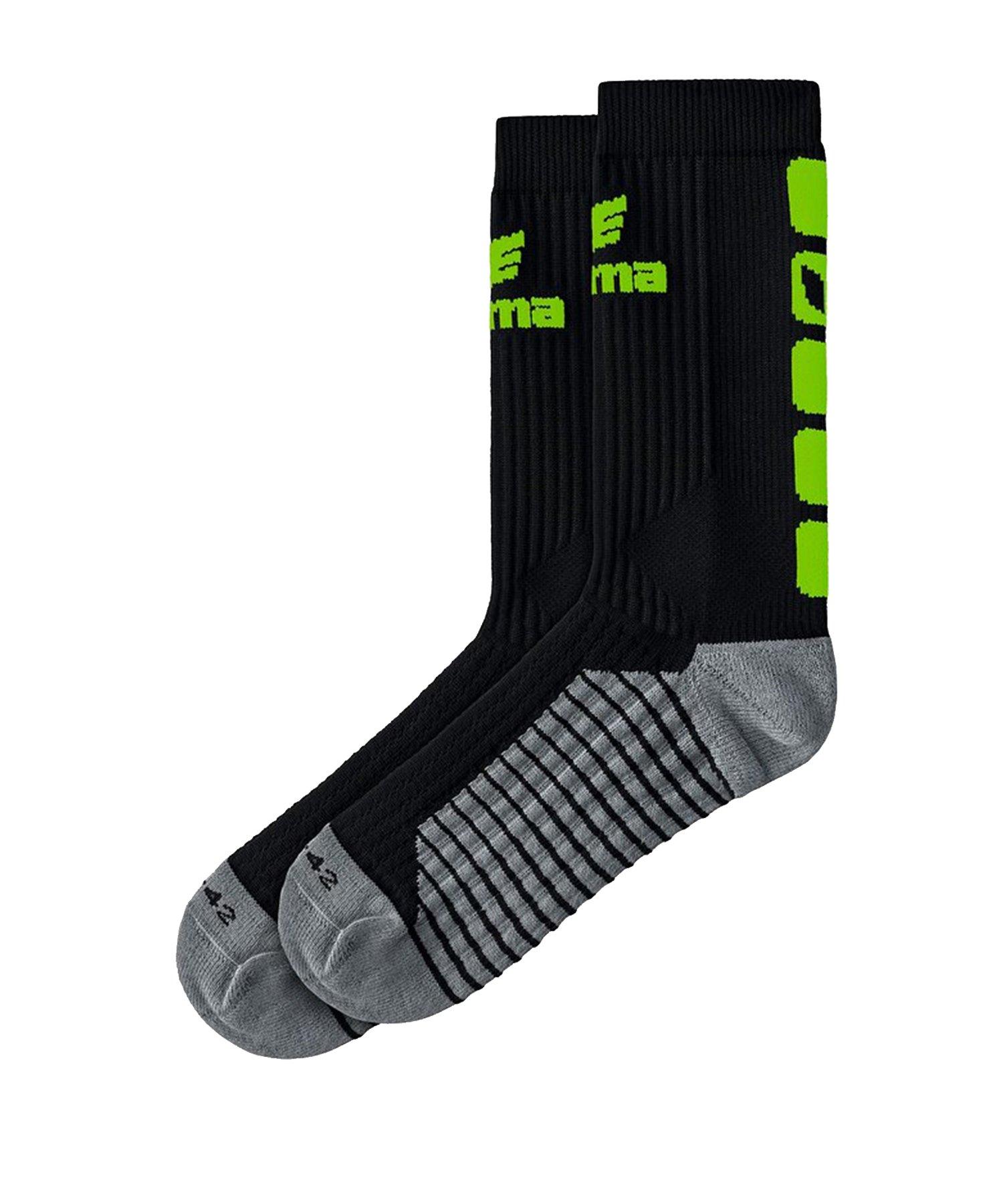 Erima CLASSIC 5-C Socken Schwarz Grün - Schwarz