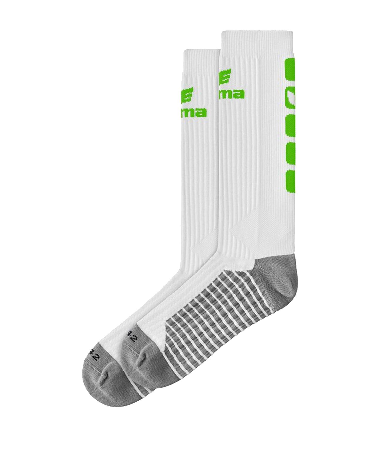 Erima CLASSIC 5-C Socken lang Weiss Grün - Weiss