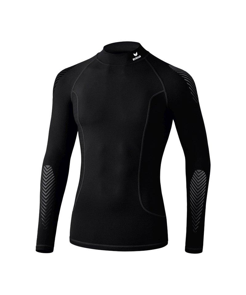 Erima Elemental LS Shirt mit Kragen Schwarz - schwarz