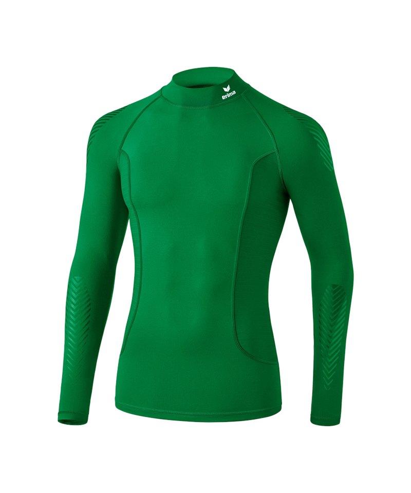 Erima Elemental LS Shirt mit Kragen Dunkelgrün - gruen