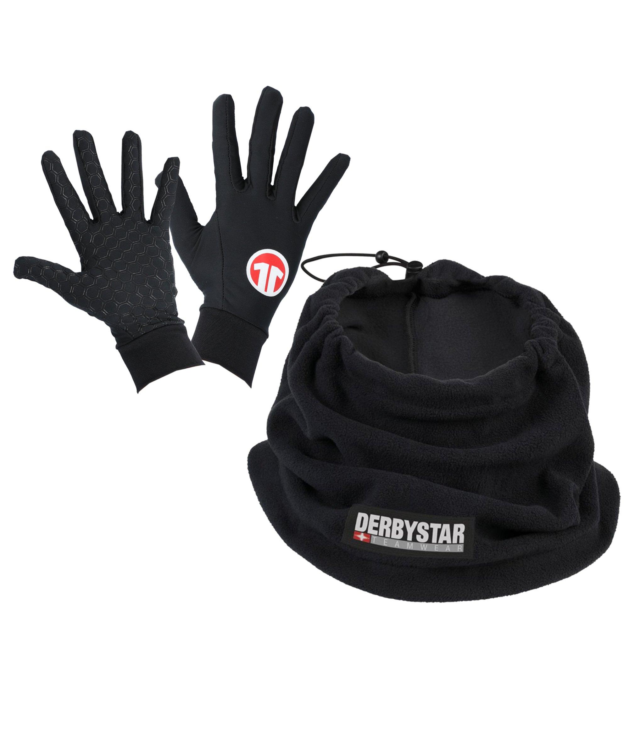 Derbystar 2er Winter Set Handschuh + Neckwarmer Schwarz - schwarz