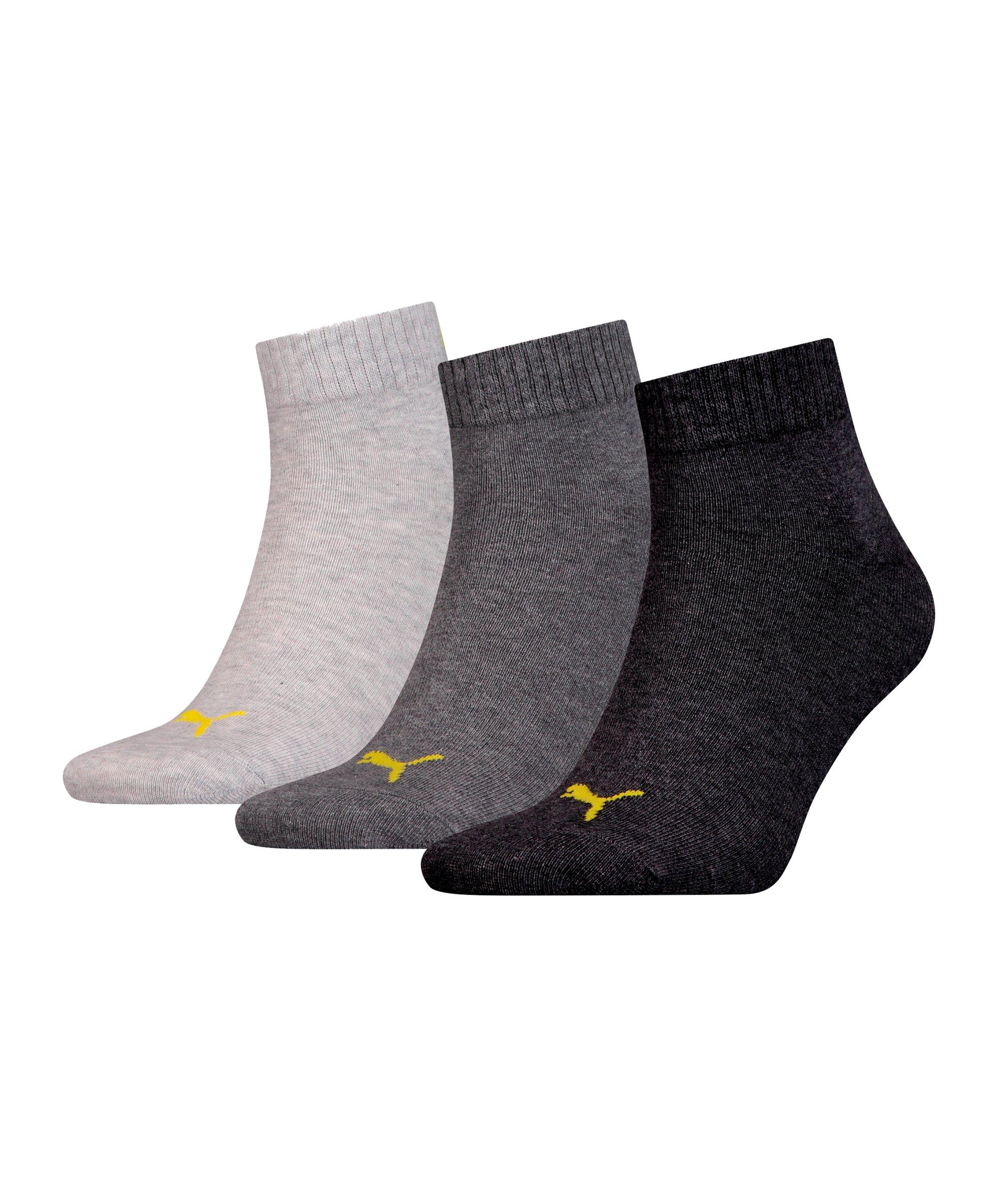 PUMA X Dortmund 3er Pack Quarter Socken Grau F02 - grau