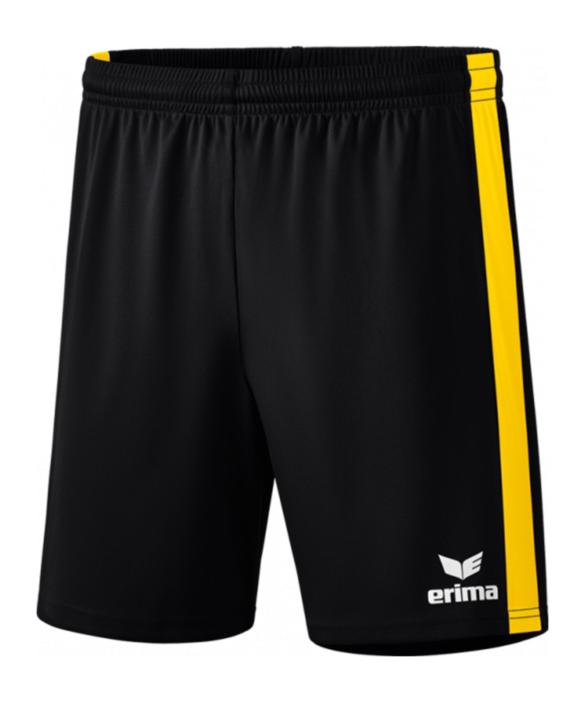 Erima Retro Star Short Schwarz Gelb - schwarz