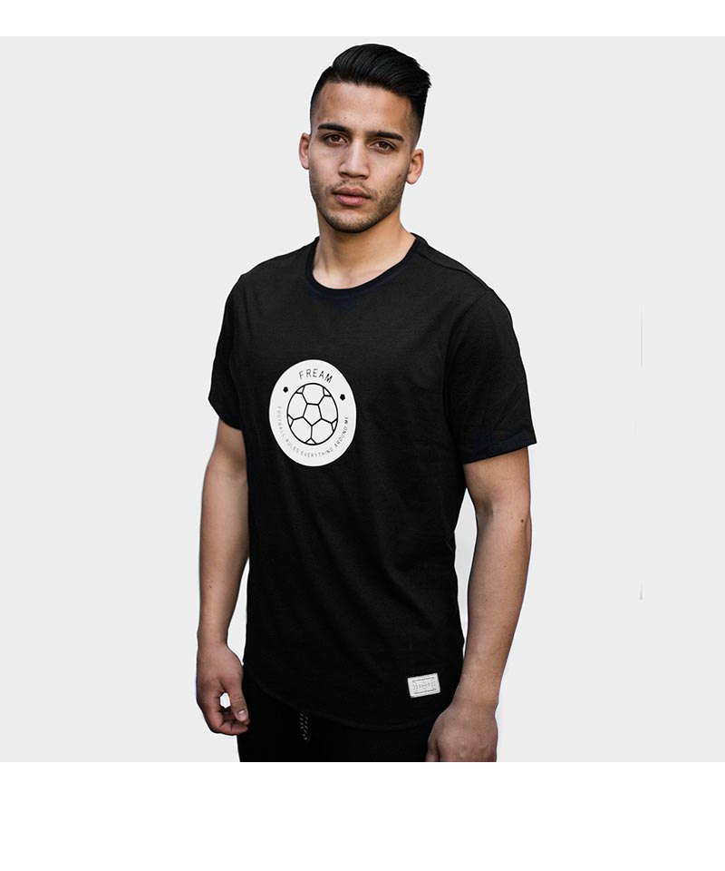 FREAM F.C. T-Shirt Basicline Crew 3 Schwarz - schwarz